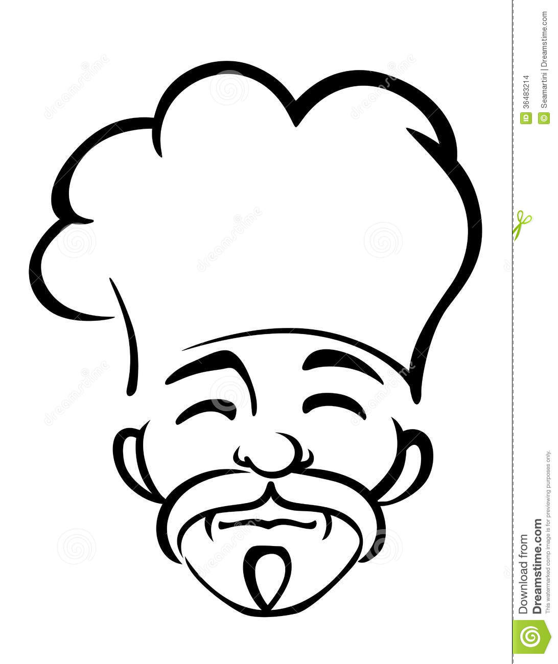 Old Japanese Chef With A Goatee Stock Vector