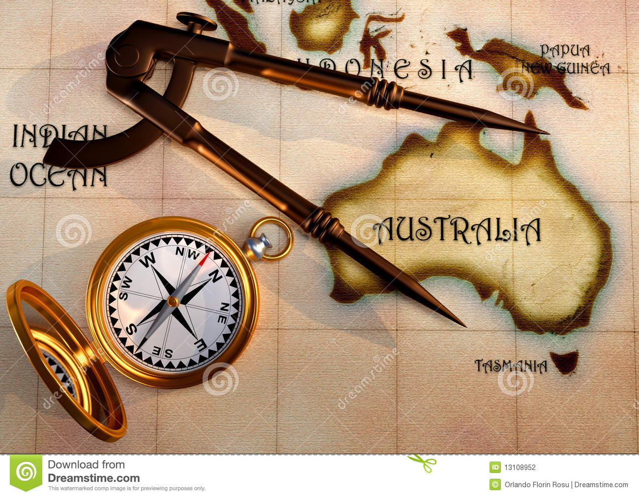Old Map And Compass Stock Illustration Image Of