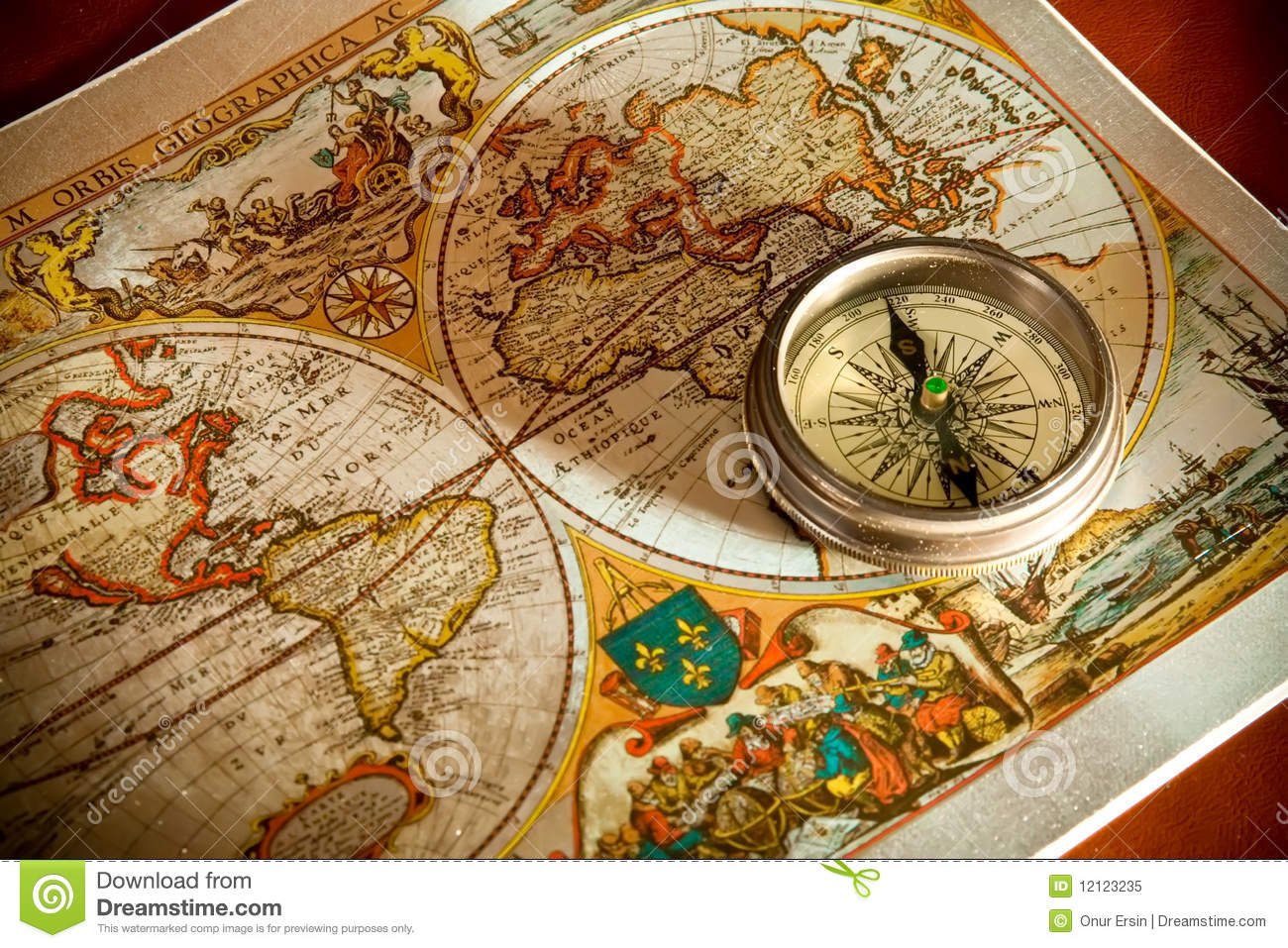 Old Map And Compass Concepts Stock Image