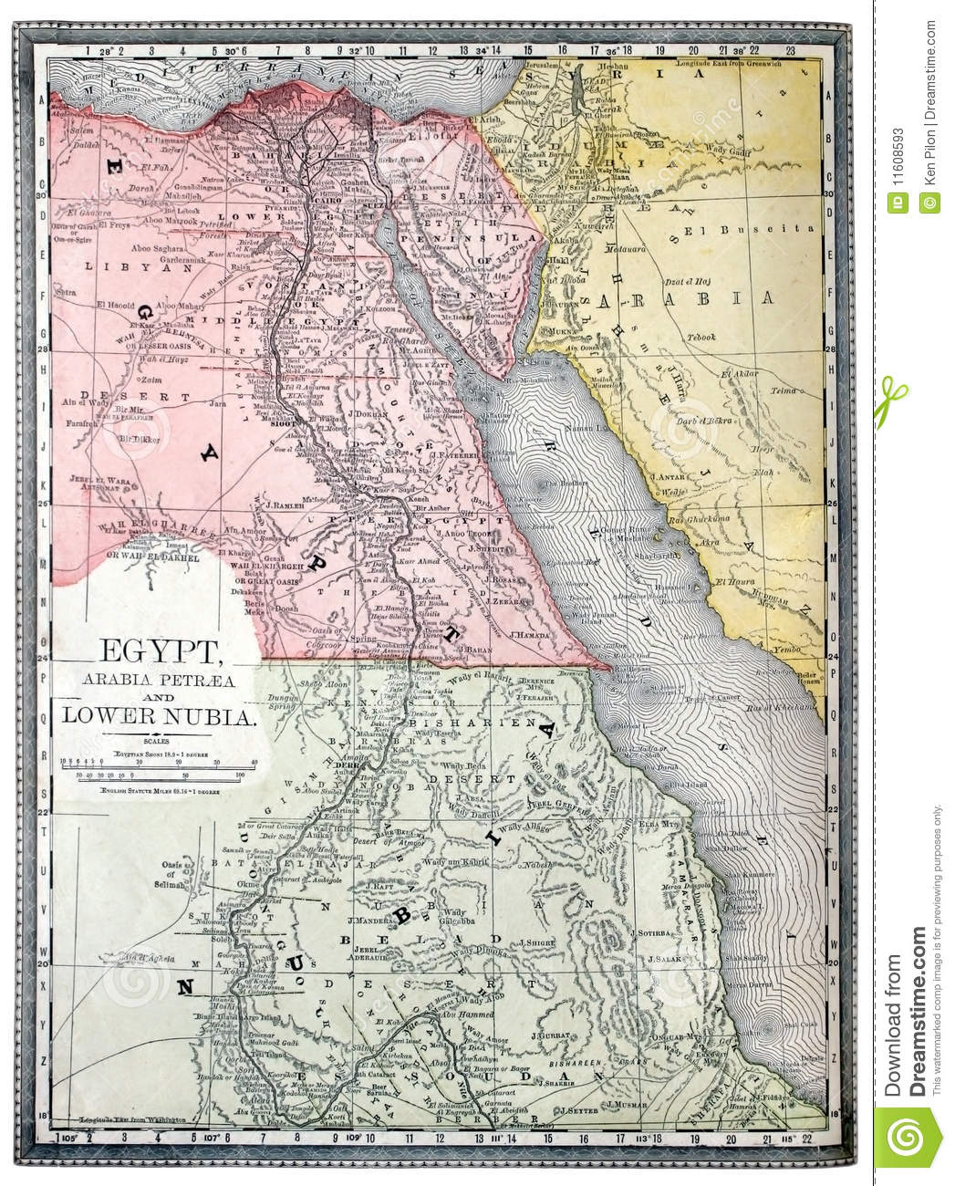 Old Map Of Egypt Stock Image Image Of Chart Nubia