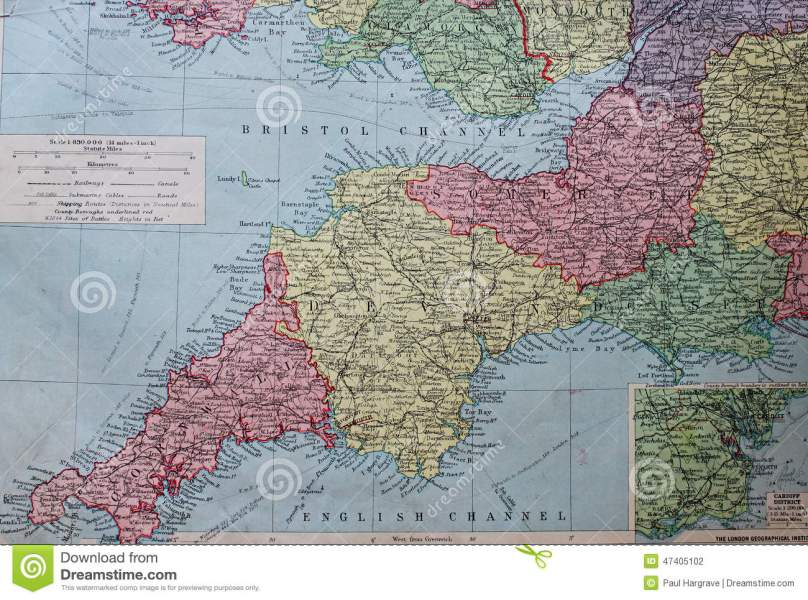 Old 1945 Map Of The South West Of England  Stock Illustration     Download Old 1945 Map Of The South West Of England  Stock Illustration    Illustration of