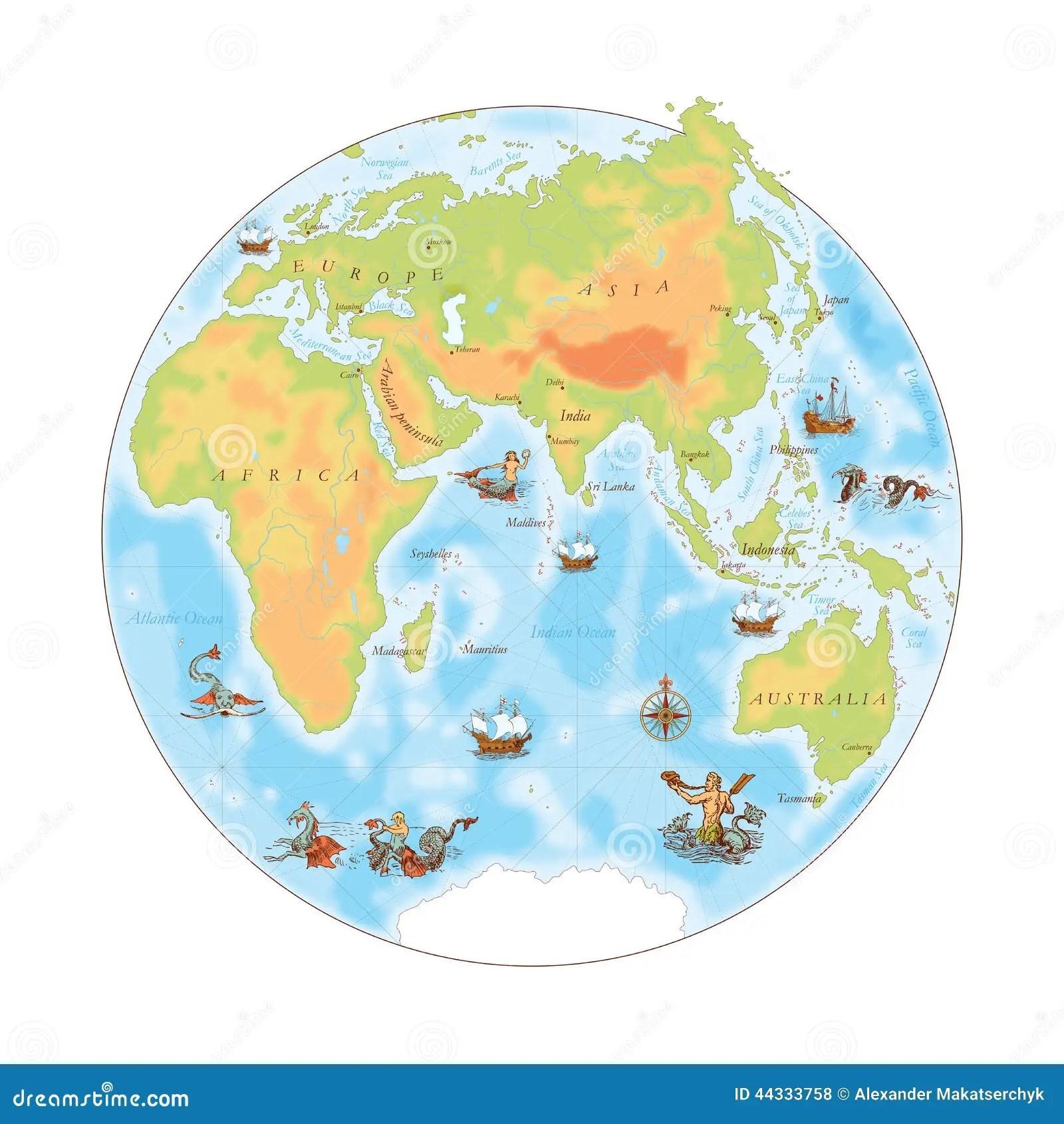Old Navy Map Eastern Hemisphere Stock Vector