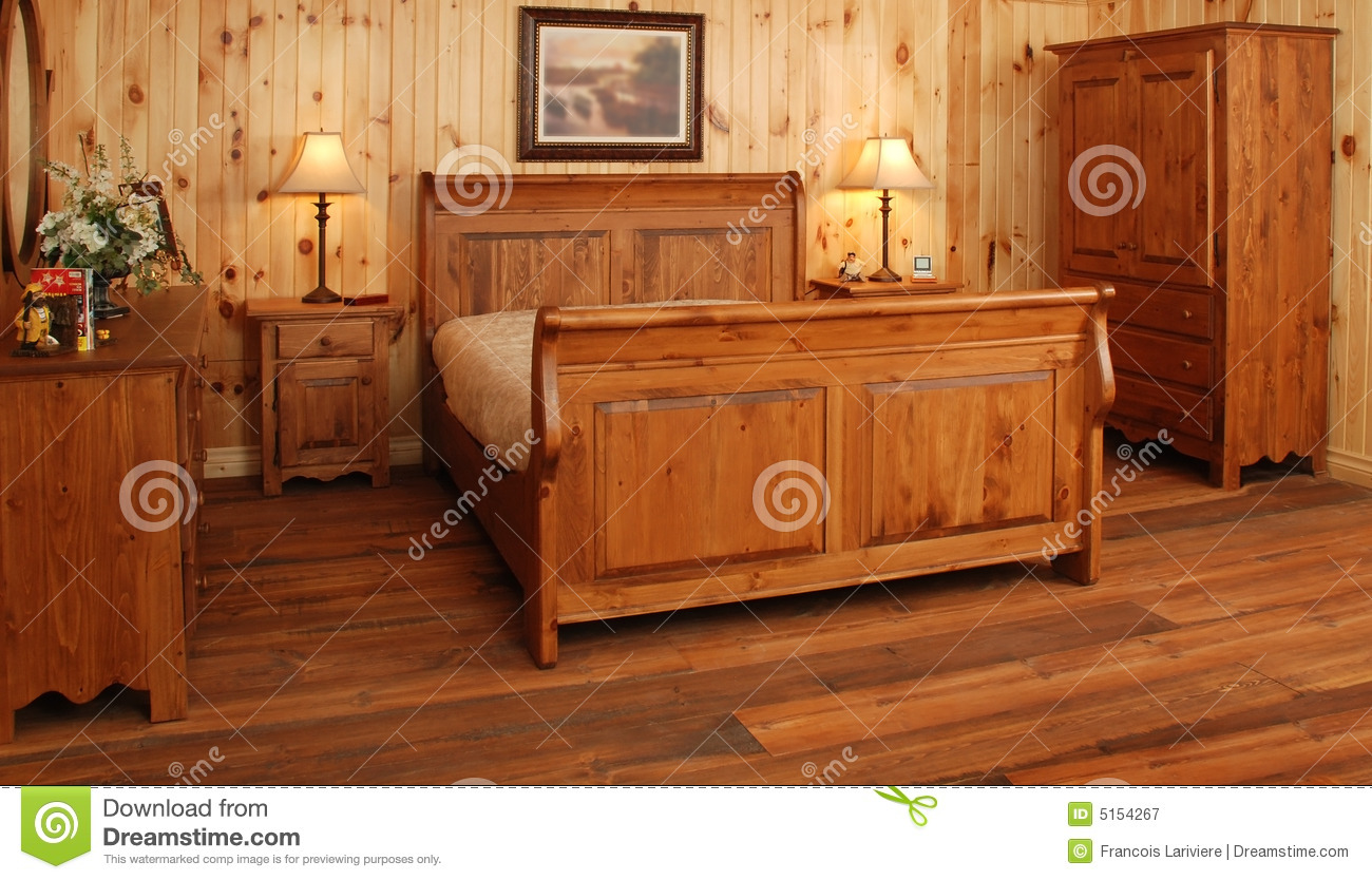 Old Pine Wood Bedroom Set Stock Image Image Of Glass