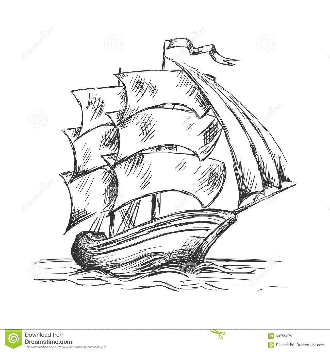 Old Ship Under Full Sails In Ocean Water Stock Vector