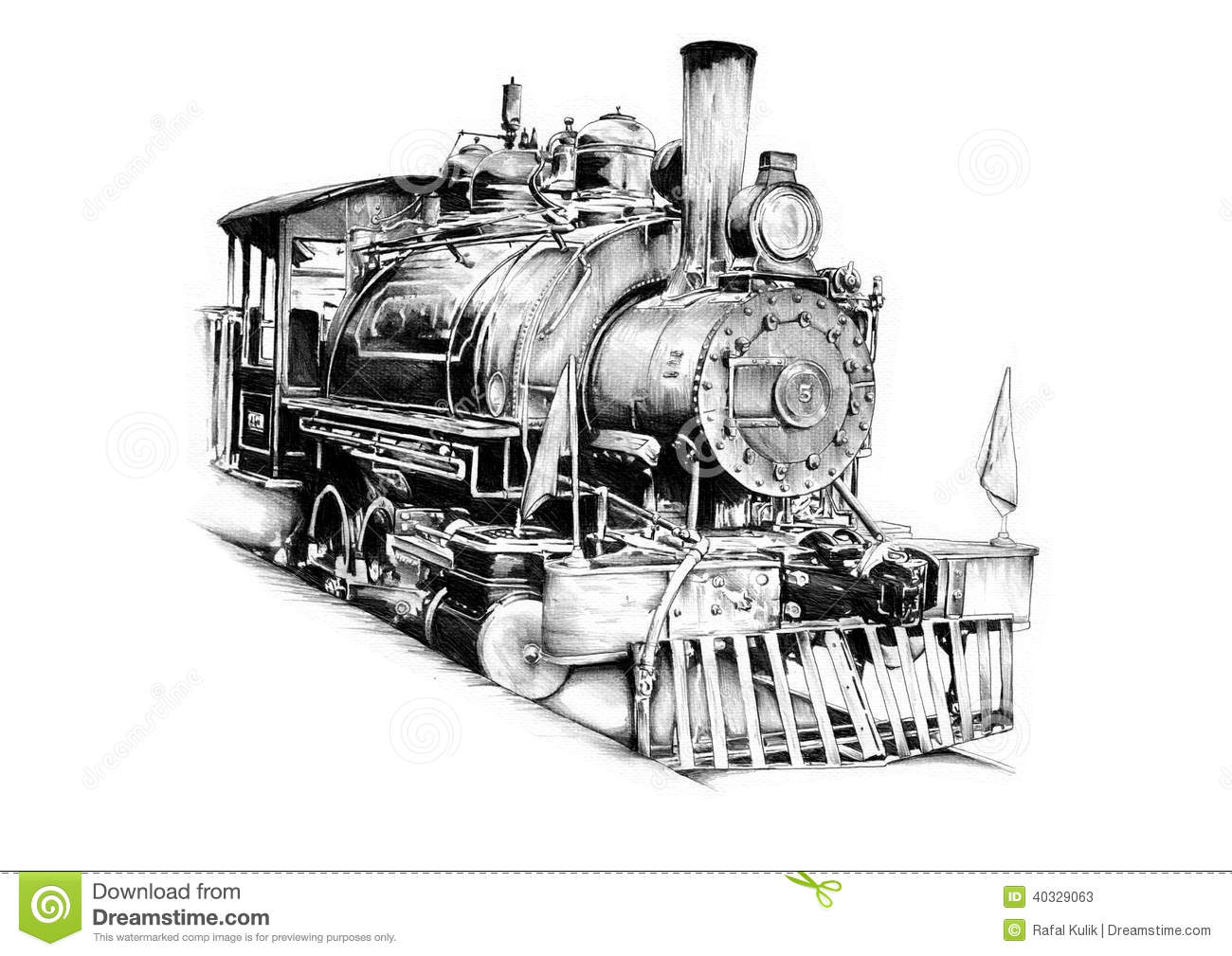 Old Steam Locomotive Engine Retro Vintage Stock