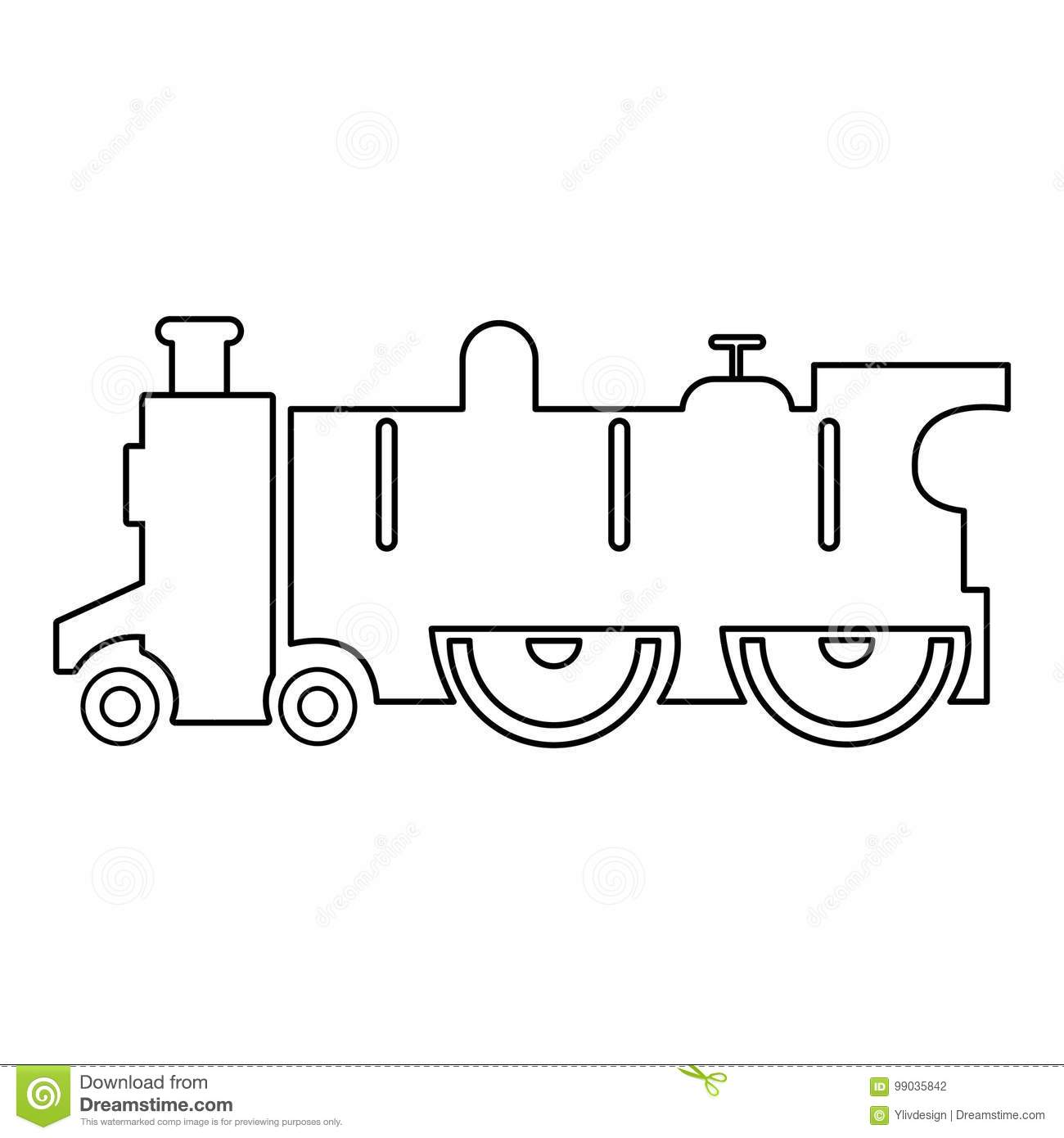 Old Steam Locomotive Icon Outline Style Stock Vector