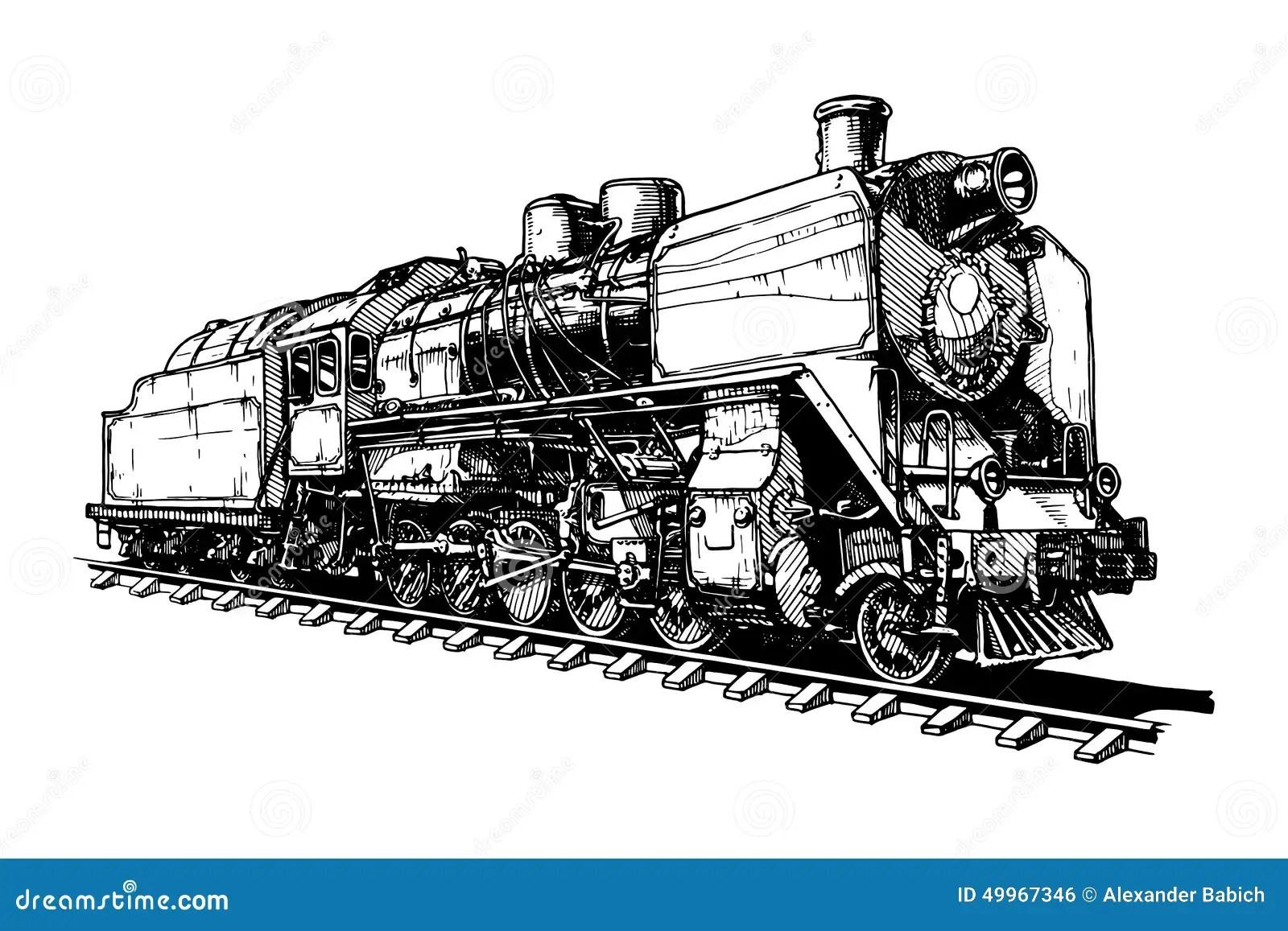 Old Steam Locomotive Stock Vector