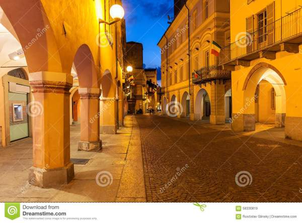 Old Town Of Alba At Evening. Stock Photo - Image: 58330819