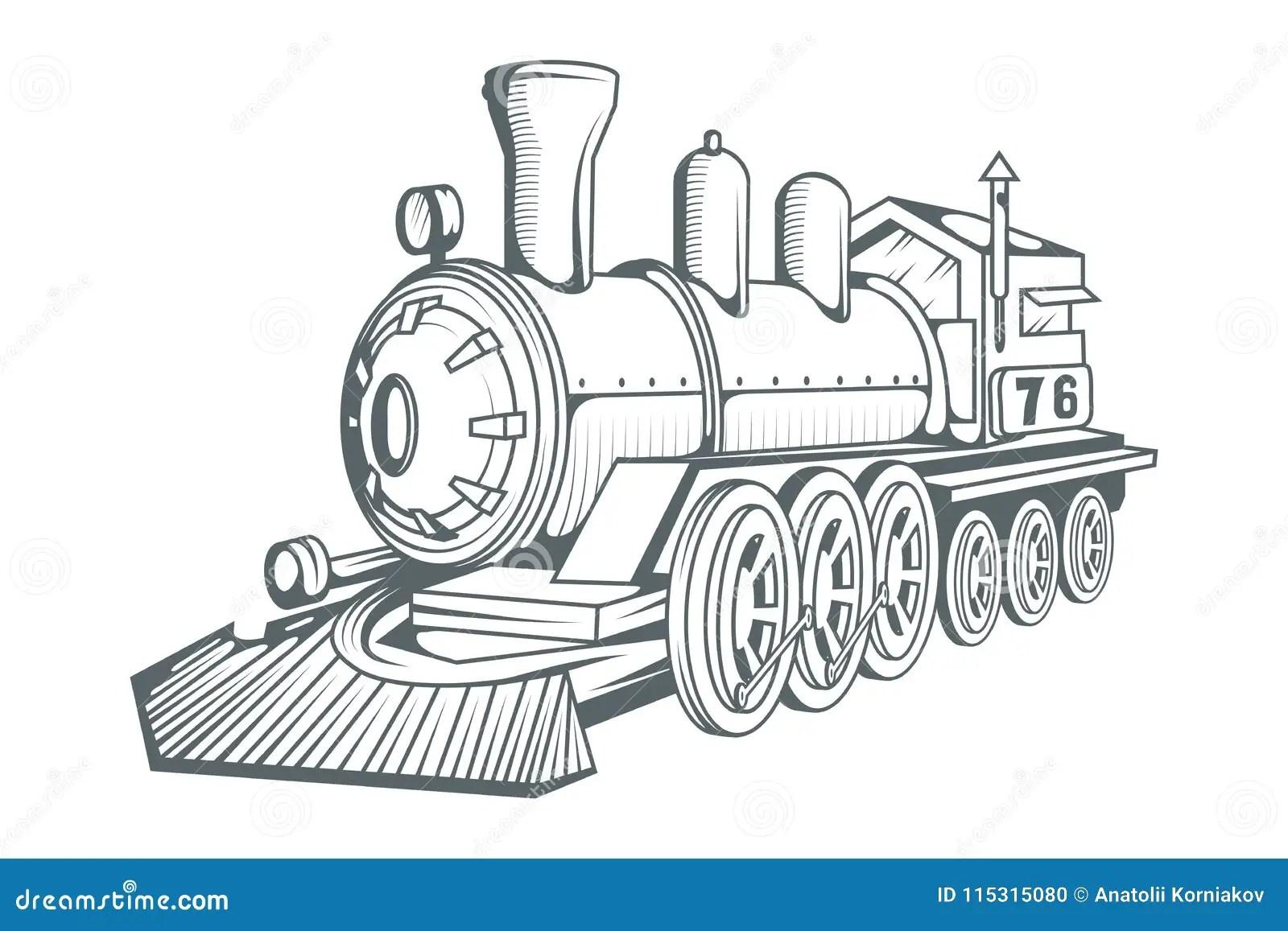 Old Train Logo Locomotive Drawing Steam Transport Stock