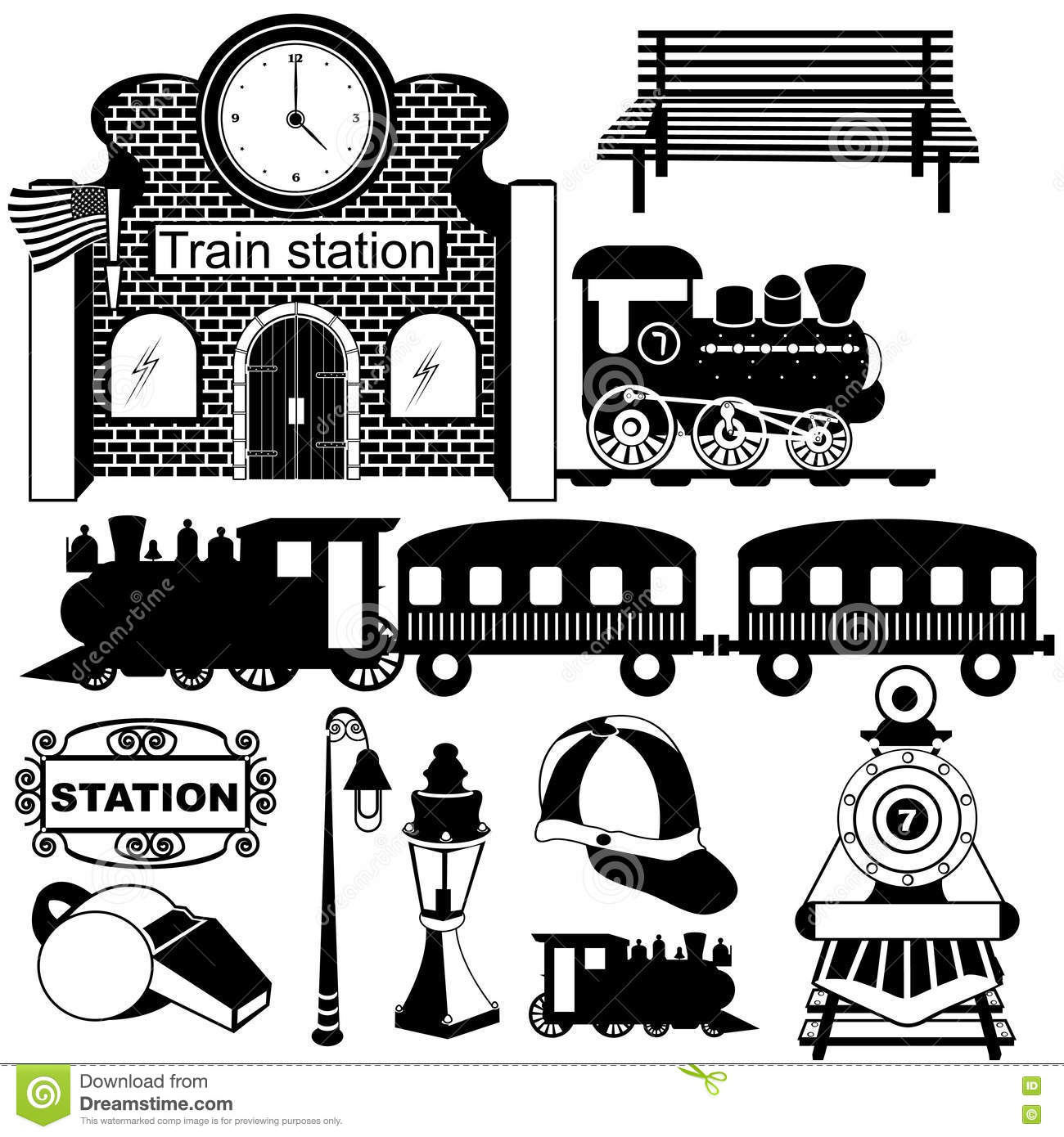 Old Train Station Black Icons Stock Vector