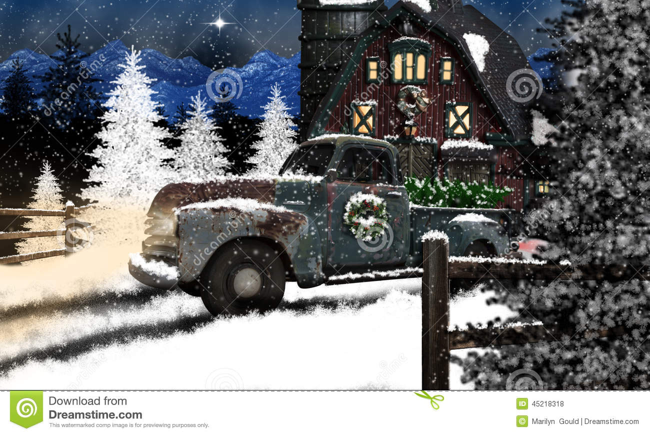 Old Truck And Barn At Christmas Stock Photo Image 45218318