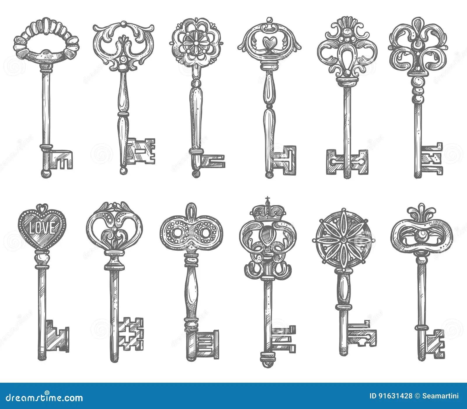 Antique Skeleton Key Drawing