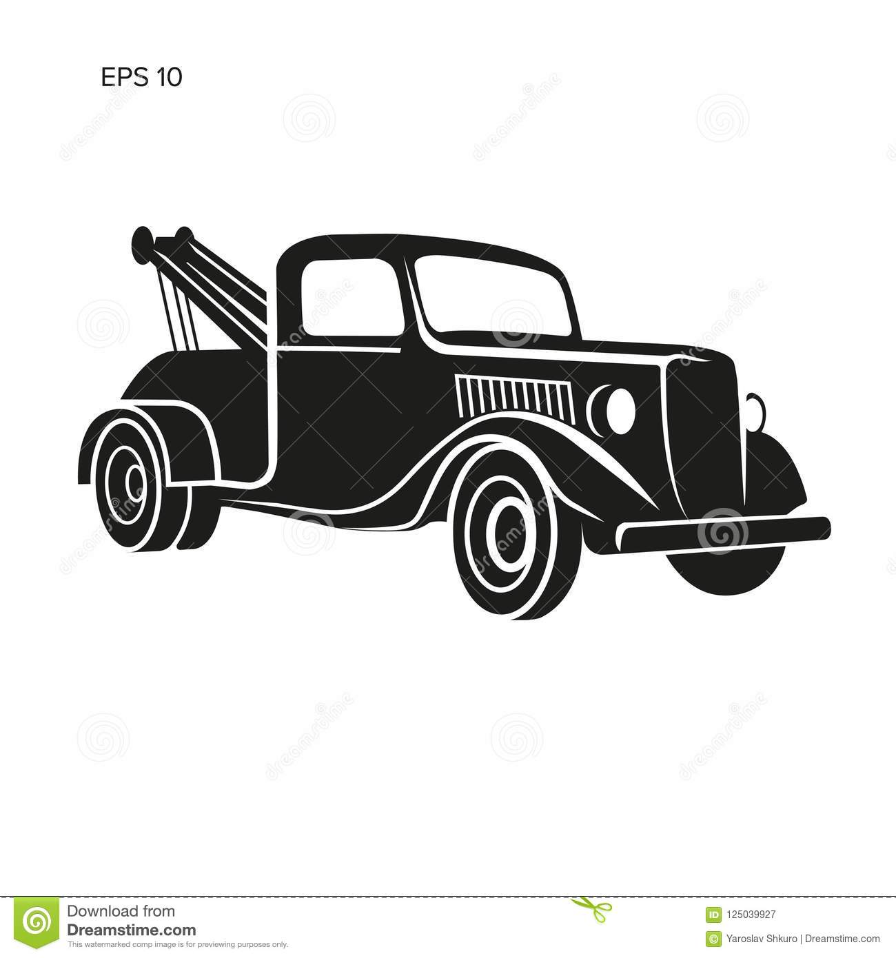 Old Vintage Tow Truck Vector Illustration Retro Service