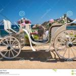 Old White Wooden Carriage During A Wedding On The Sea Stock Photo Image Of Married Vehicle 104623040