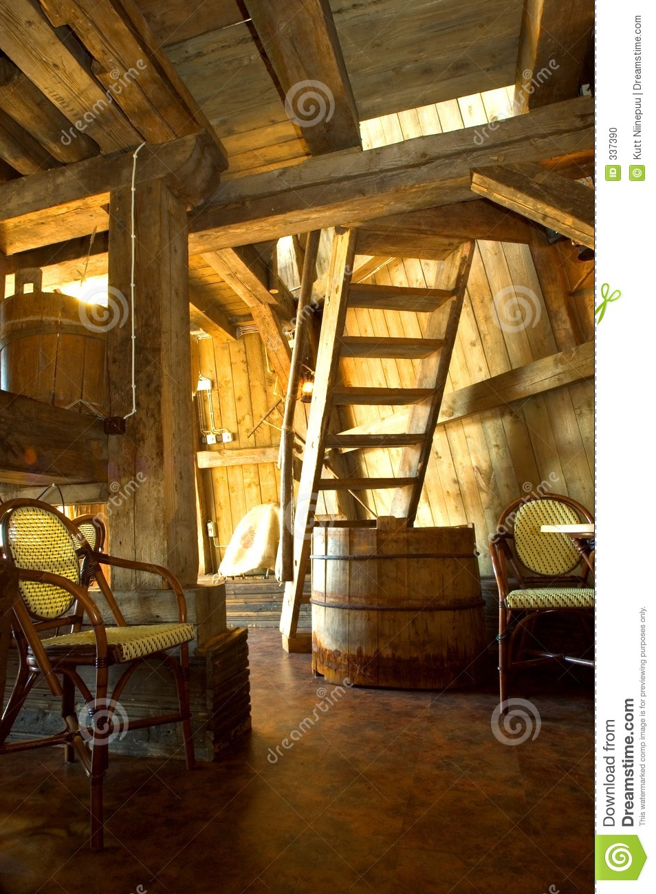 Old Windmill Interior Stock Photo Image Of Stairs