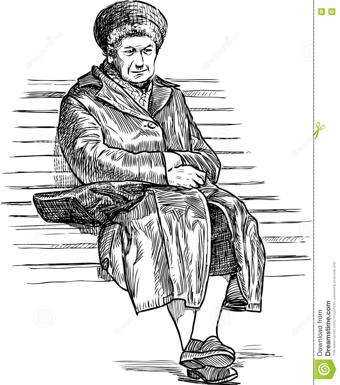 Old Woman Resting On A Park Bench Stock Photo