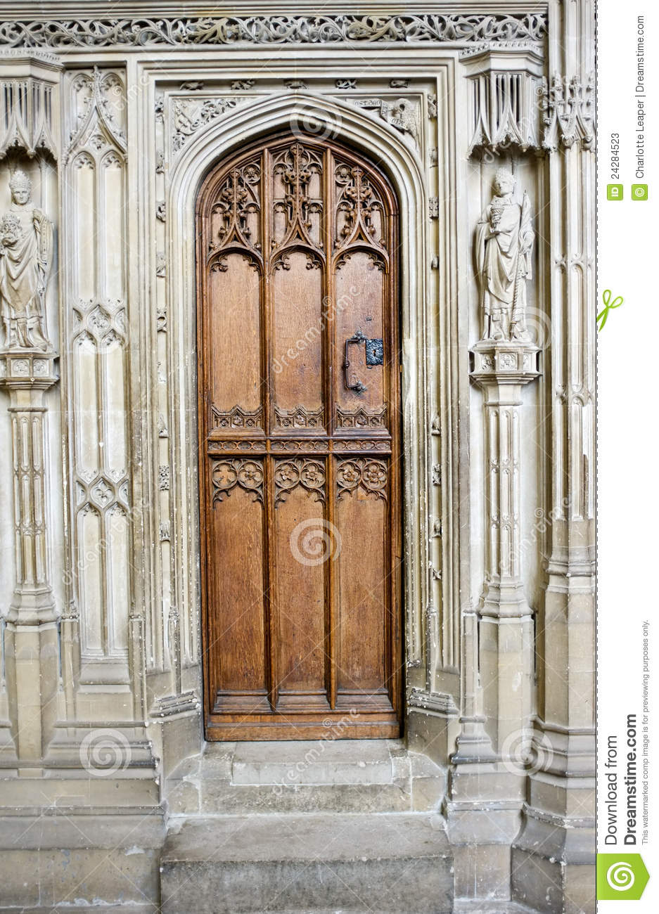 Old Wooden Medieval Cathedral Door Stock Image Image Of