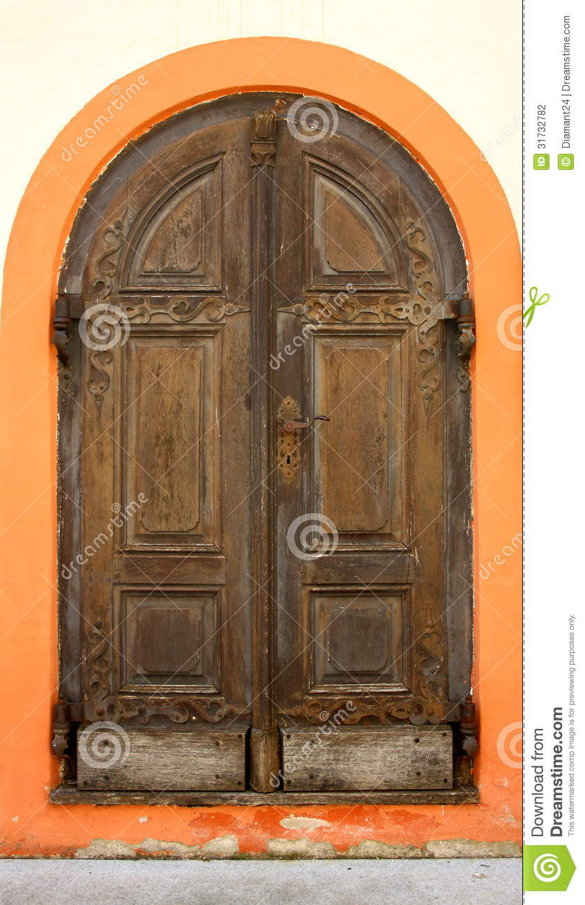 Old Wooden Doors In Andechs Monastery As Background Stock