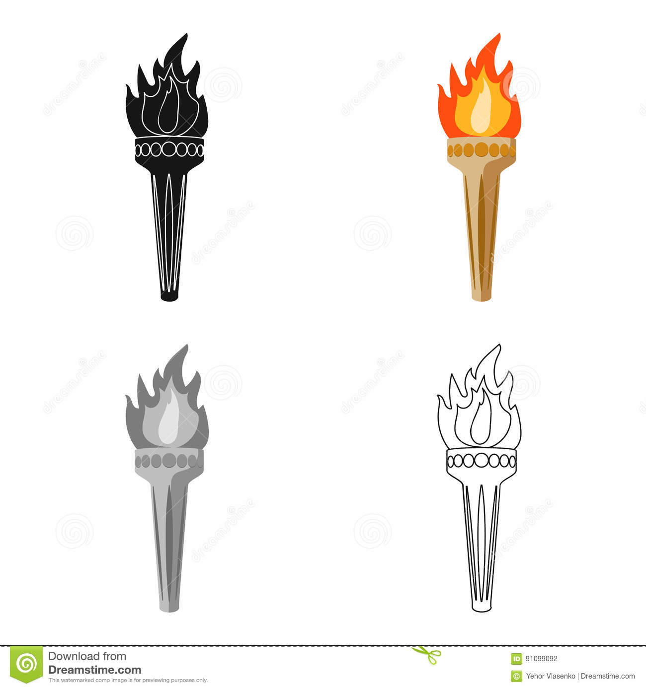Olympic Torch Icon In Cartoon Style Isolated On White