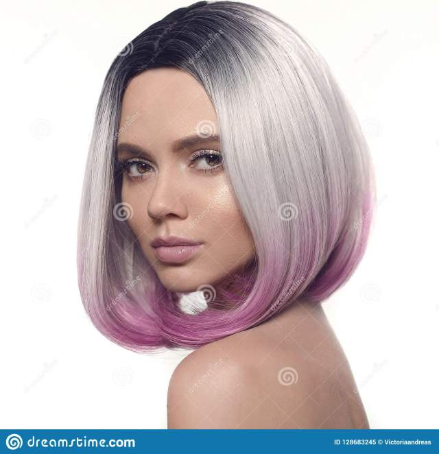 ombre bob hairstyle girl portrait. beautiful short hair