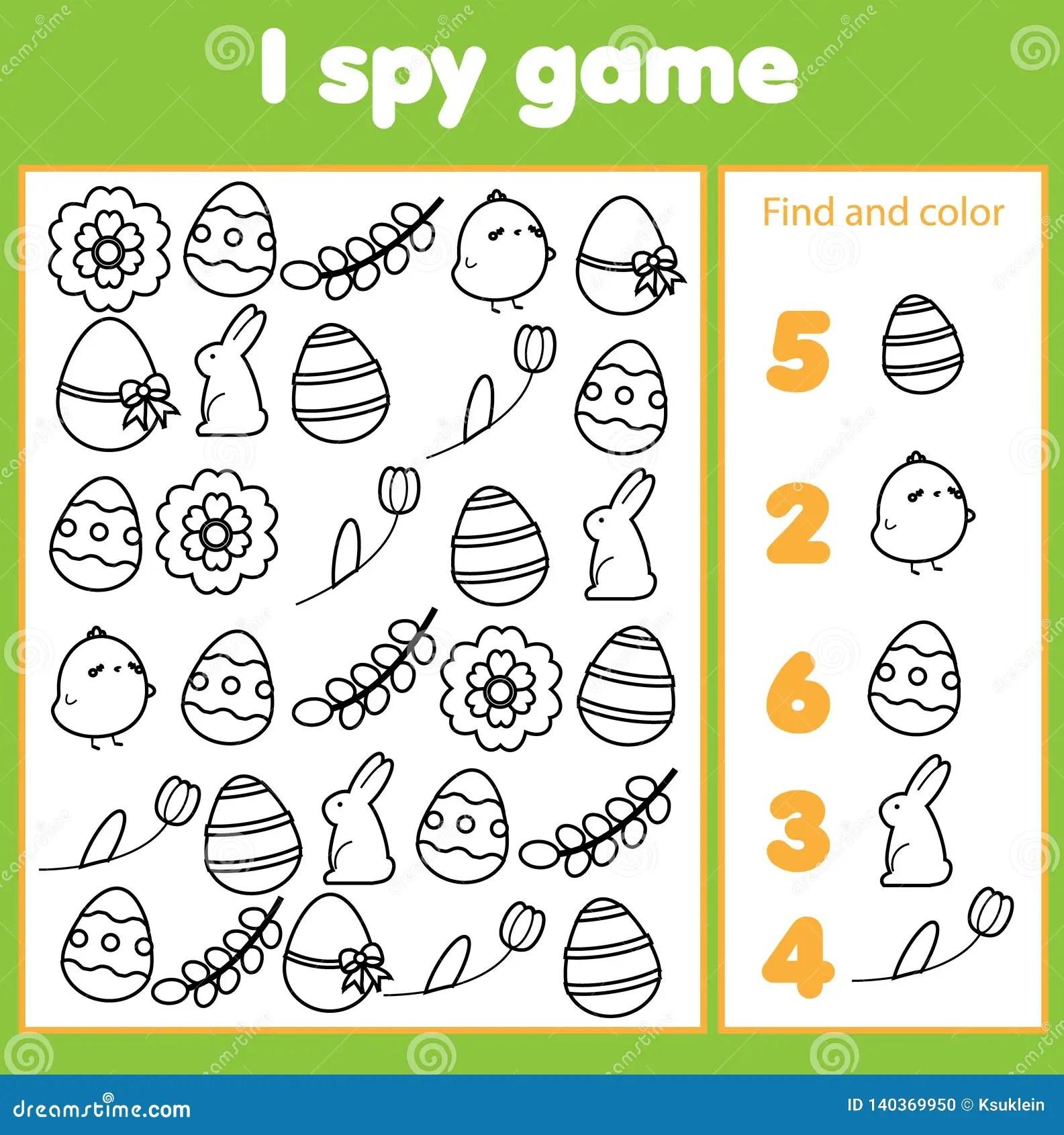 Onderwijskinderenspel Ik Spioneer Blad Voor Peuters Vind