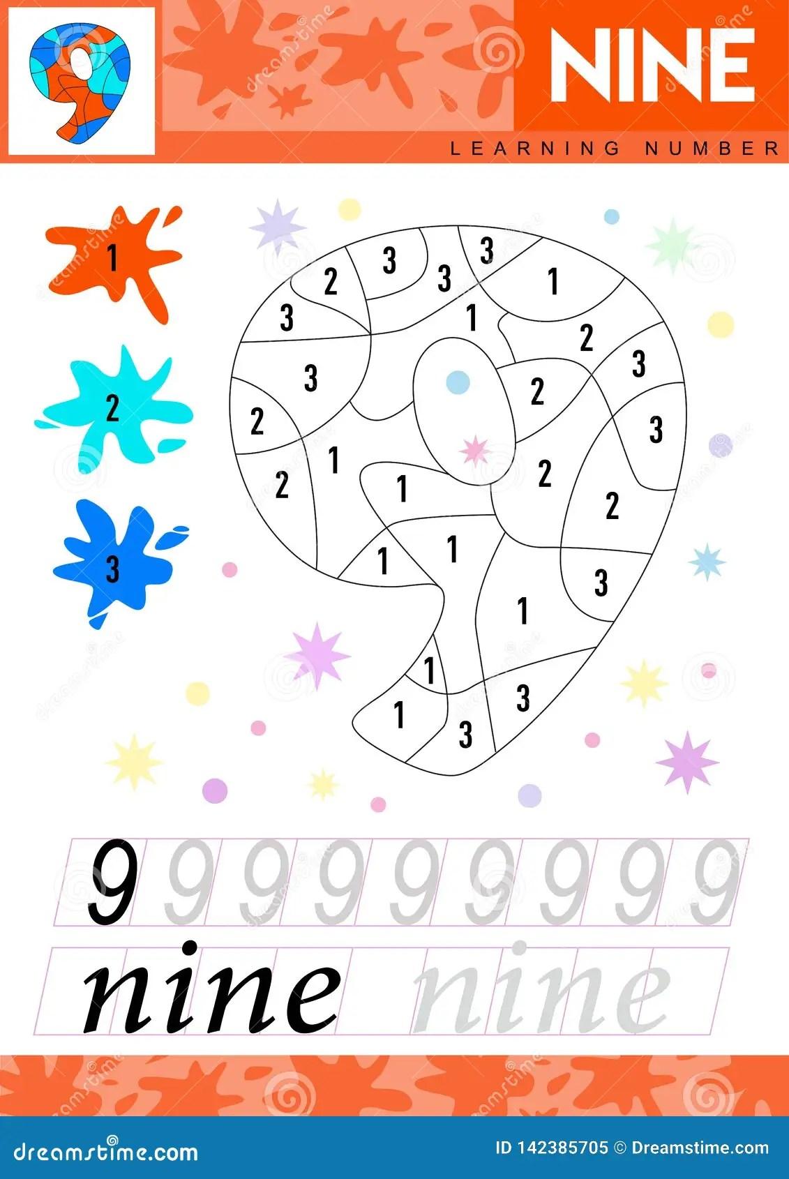 Learn Numbers 9 Nine Kids Learn To Count Worksheet