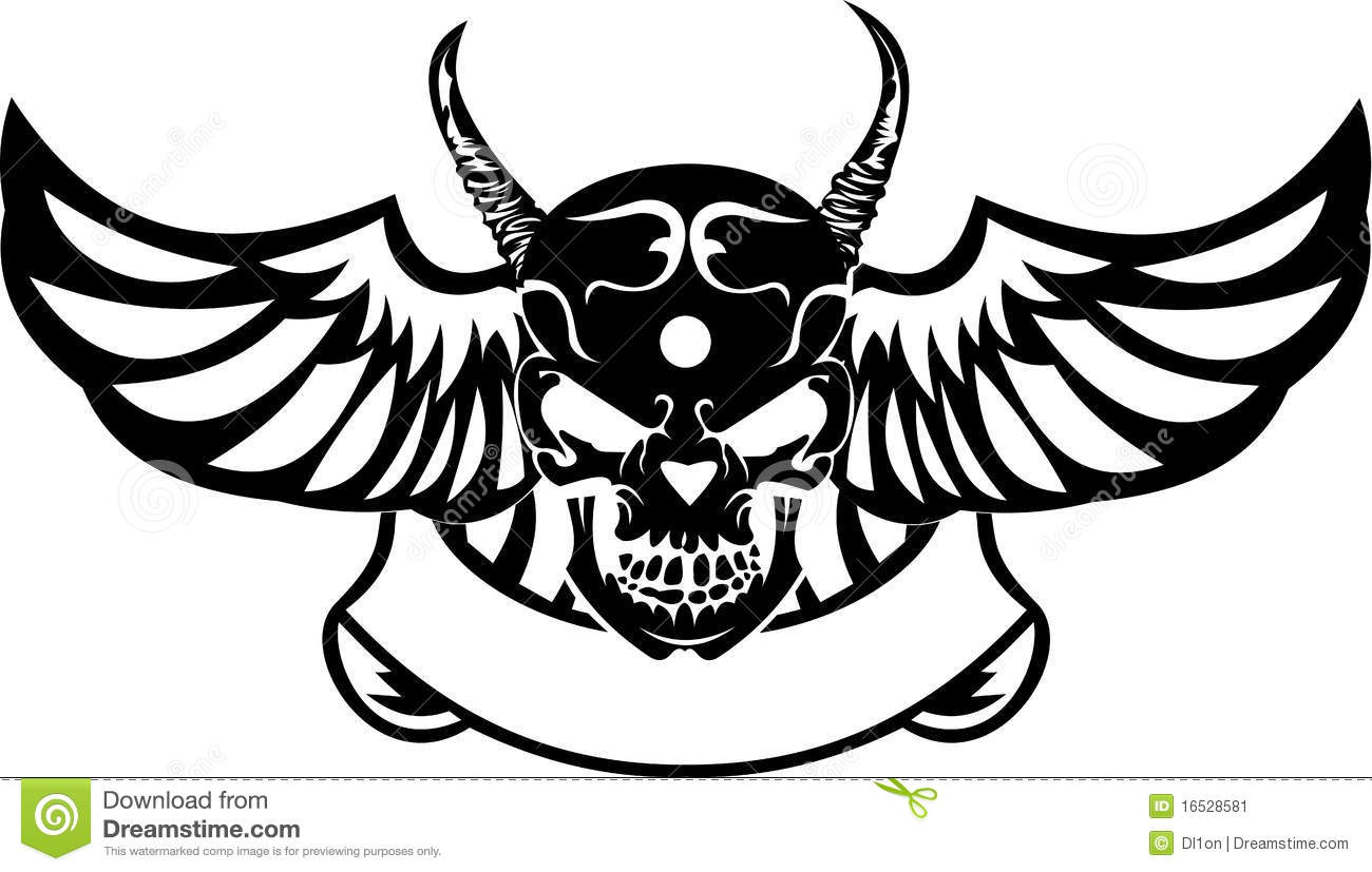 One Color Wings Horned Skull Stock Vector Image 16528581
