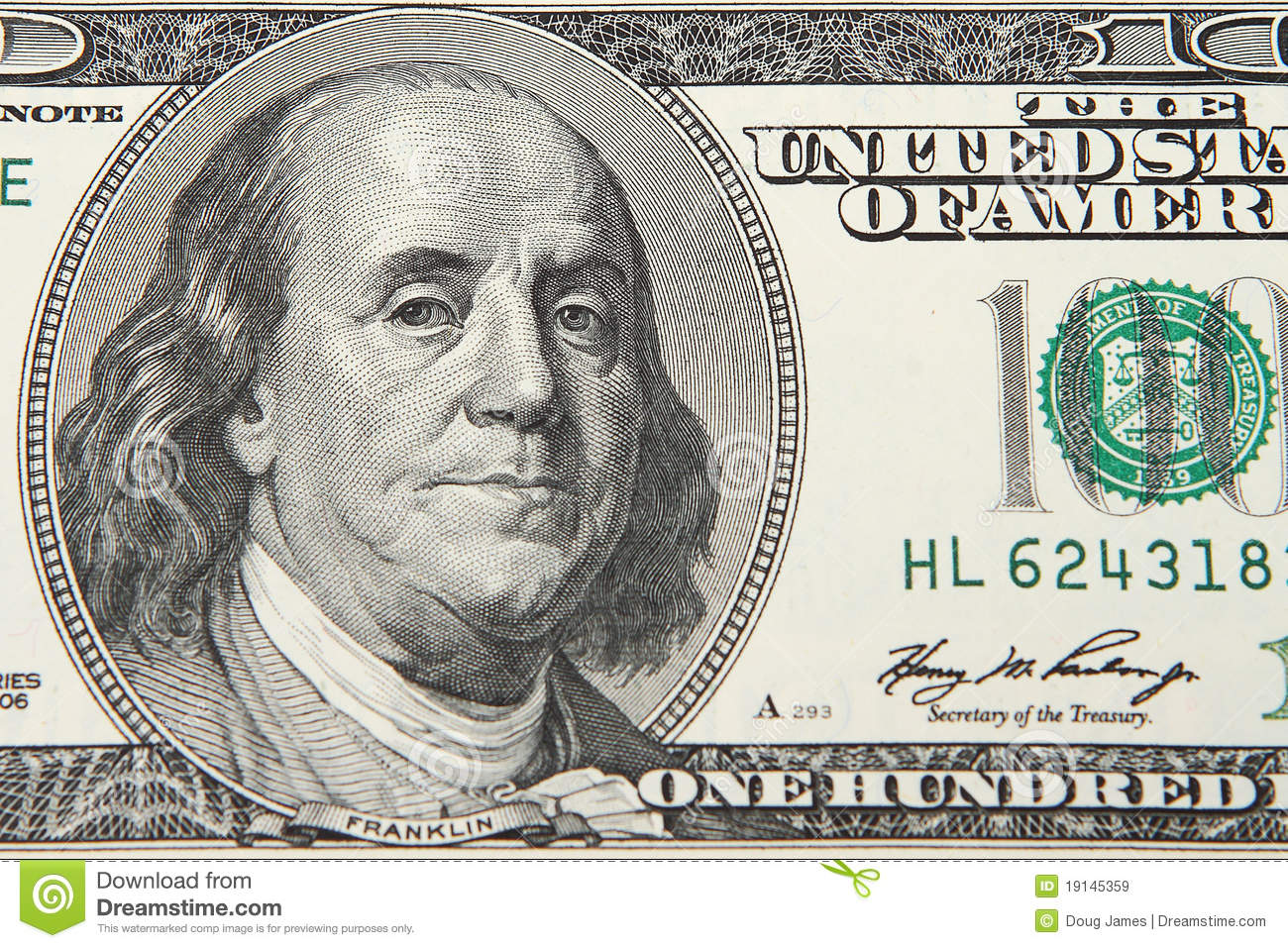 One Hundred Dollar Bill Stock Image Image Of Sign