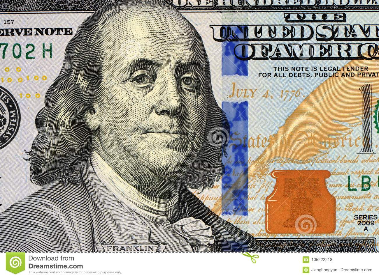 One Hundred Dollar Bill Stock Photo Image Of Franklin