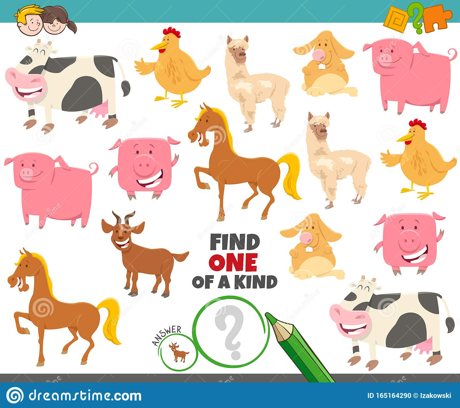 One Of A Kind Game For Kids With Farm Animals Stock Vector
