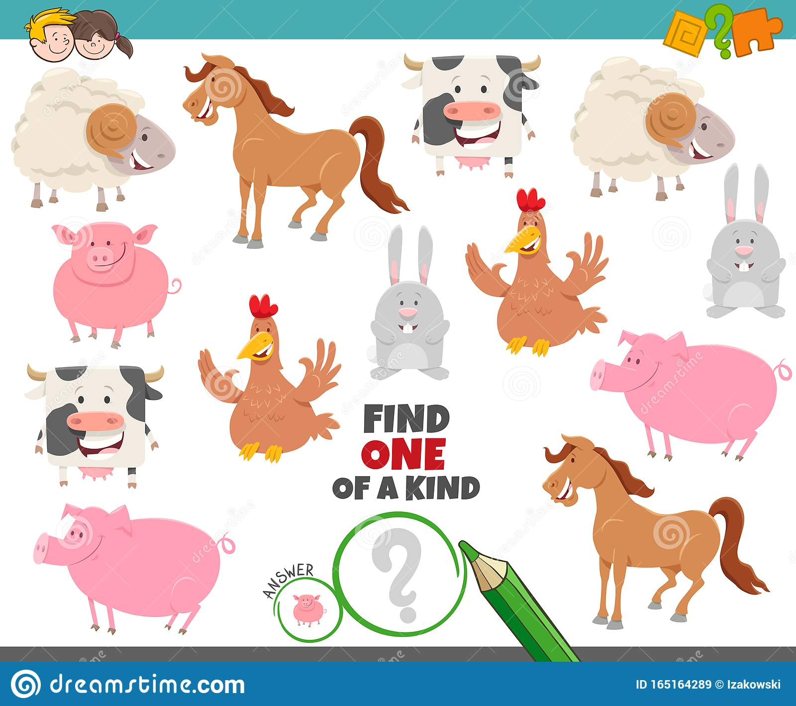 One Of A Kind Task For Children With Farm Animals Stock