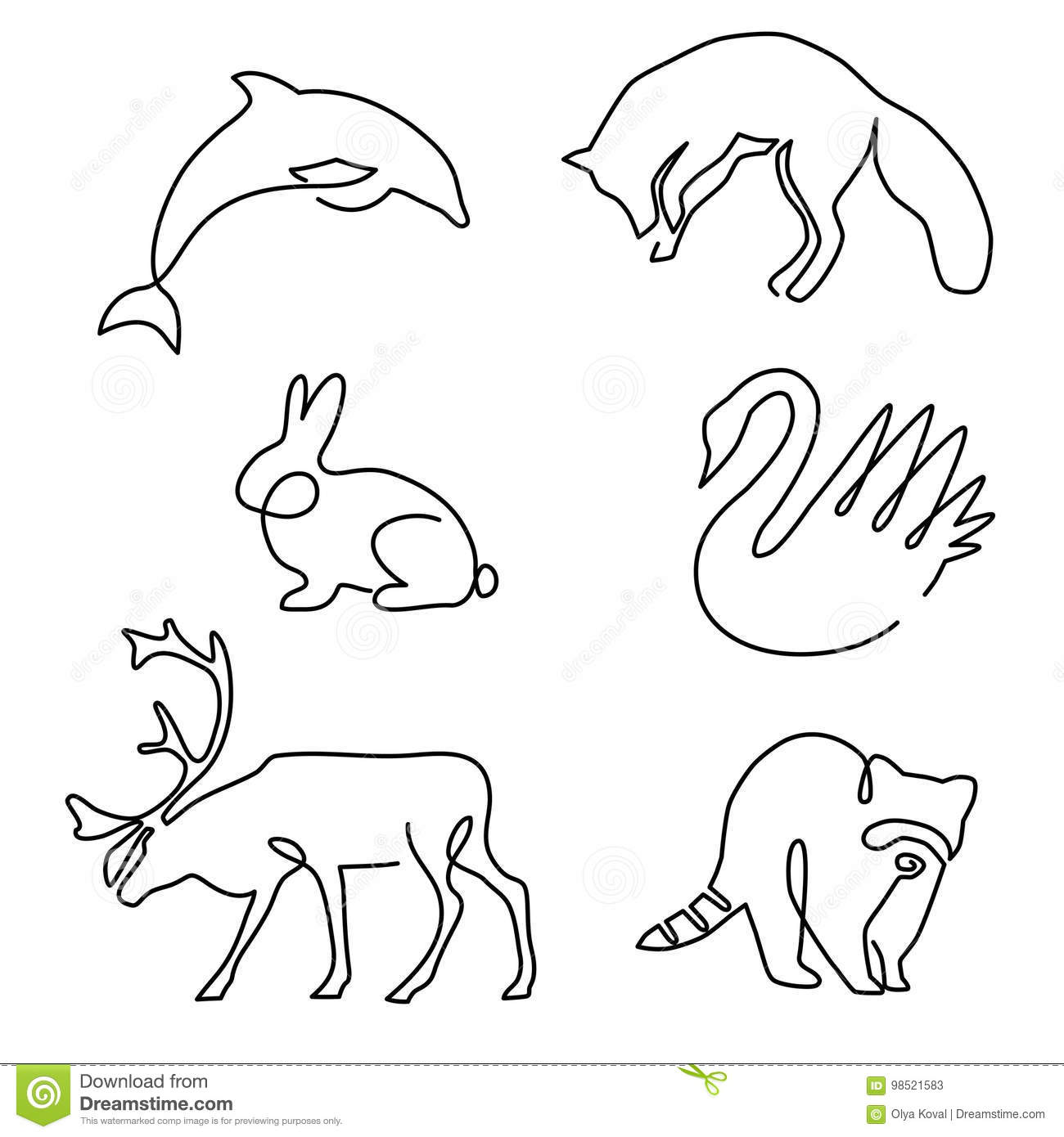 One Line Animals Design Silhouette Stock Vector