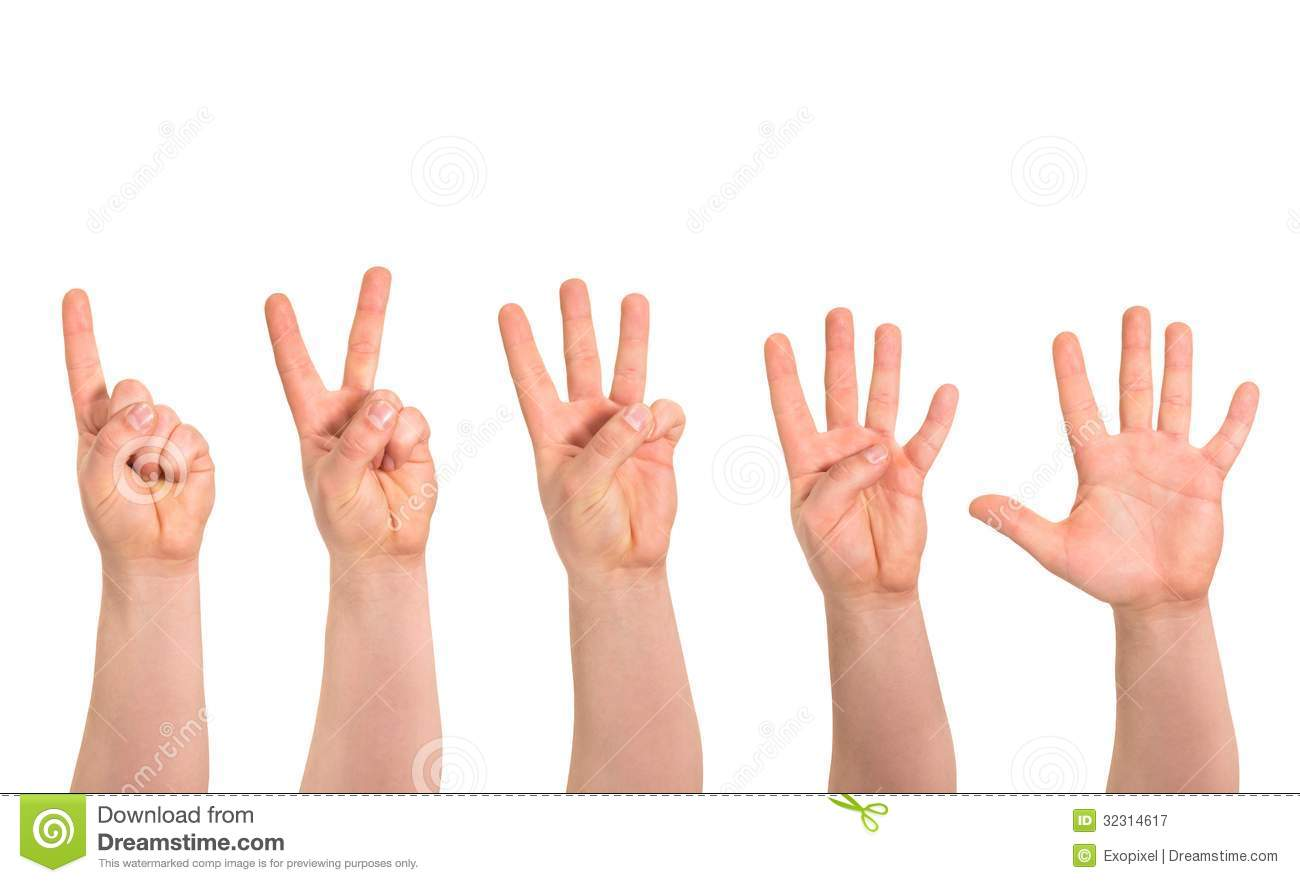 One To Five Fingers Count Hand Gesture Isolated Stock