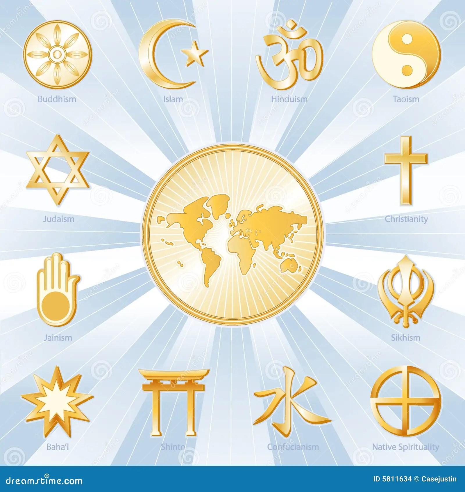 One World Many Faiths Blue Amp Gold Stock Images