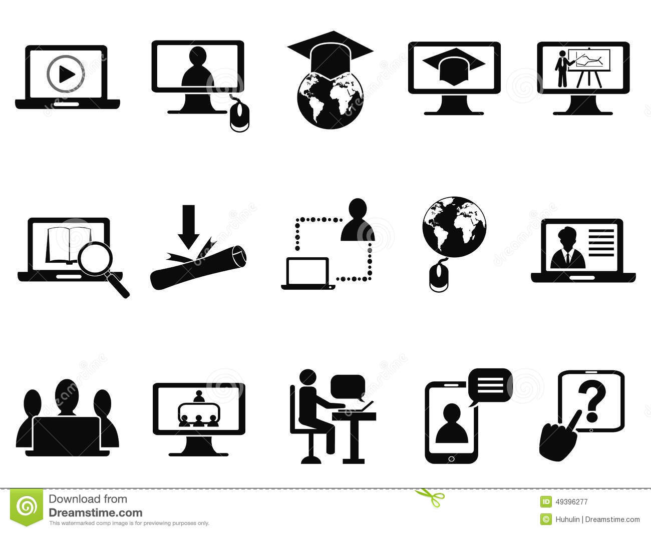 Online Class Icons Set Stock Vector Illustration Of