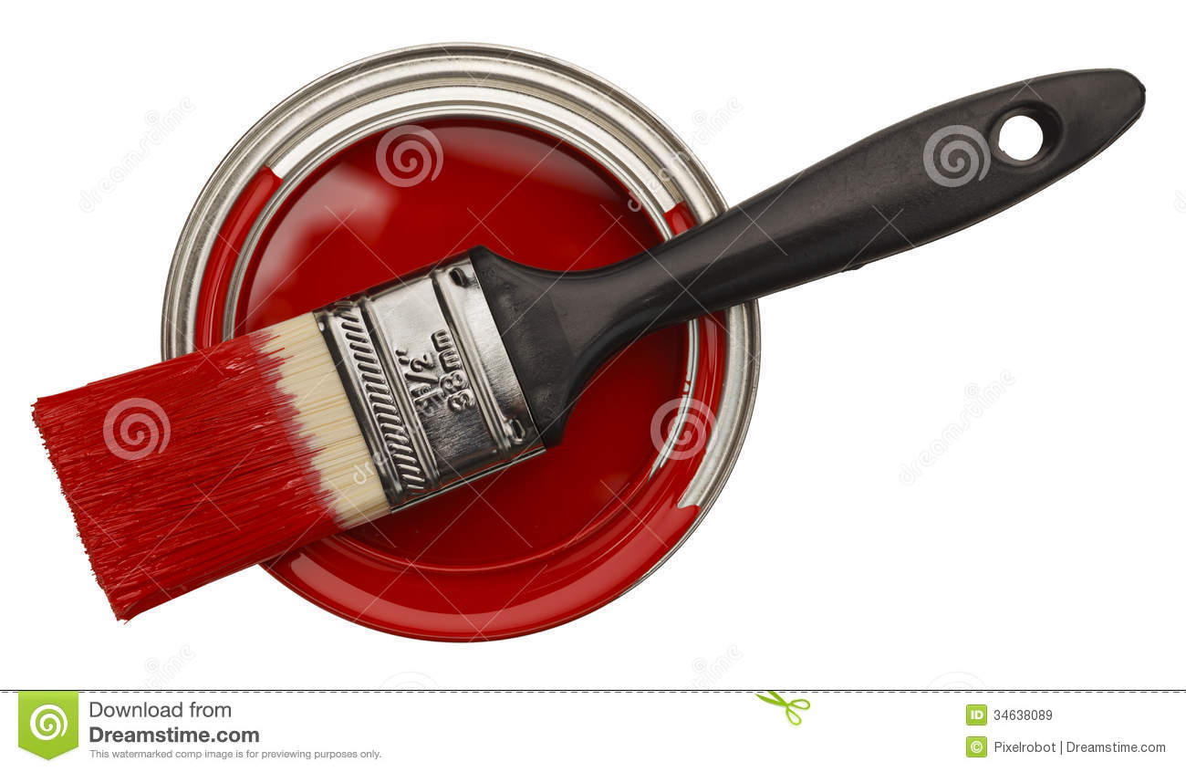 Open Red Paint Can Stock Image Image Of Handle House