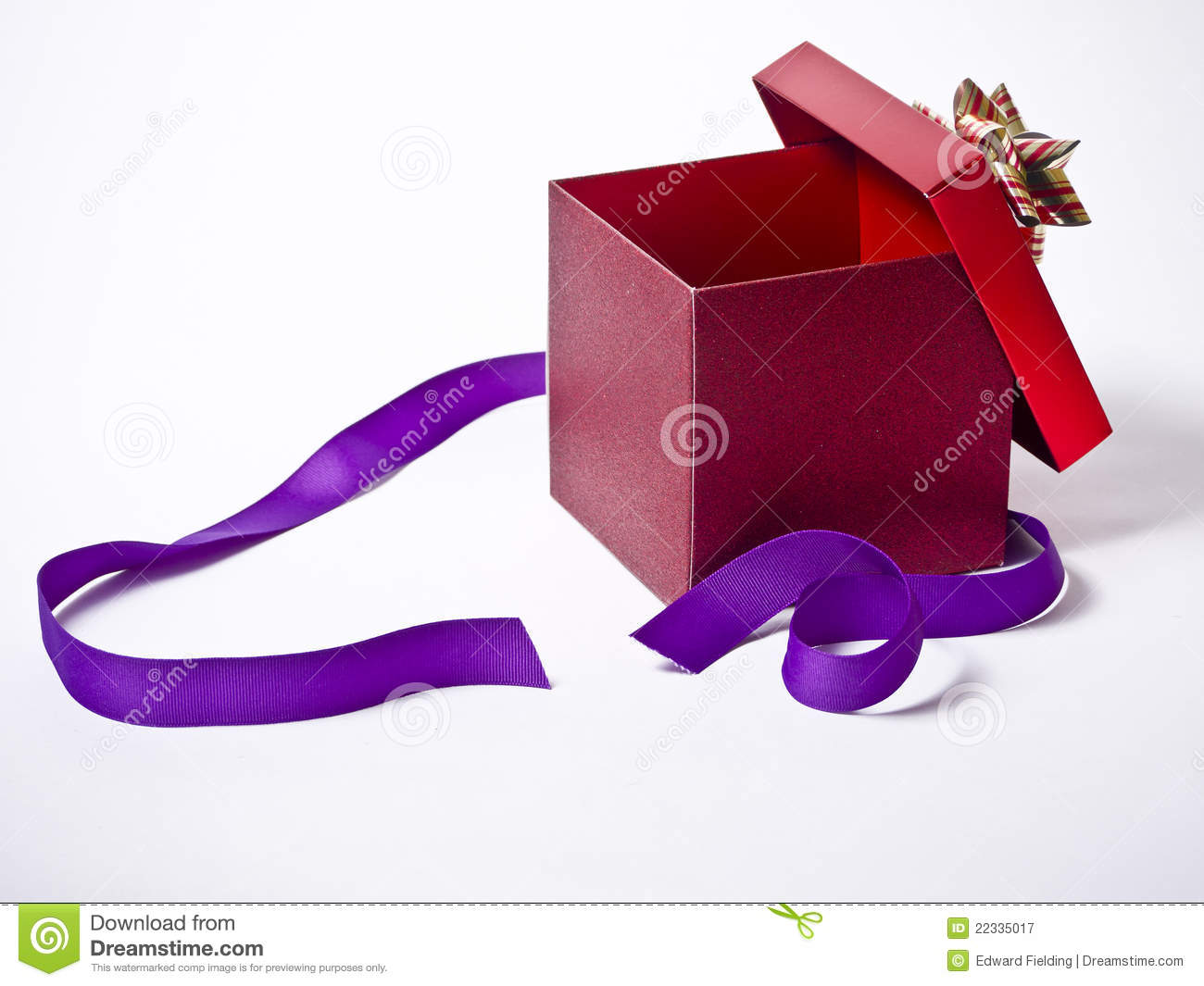 Opened Present With Purple Ribbon Stock Image Image