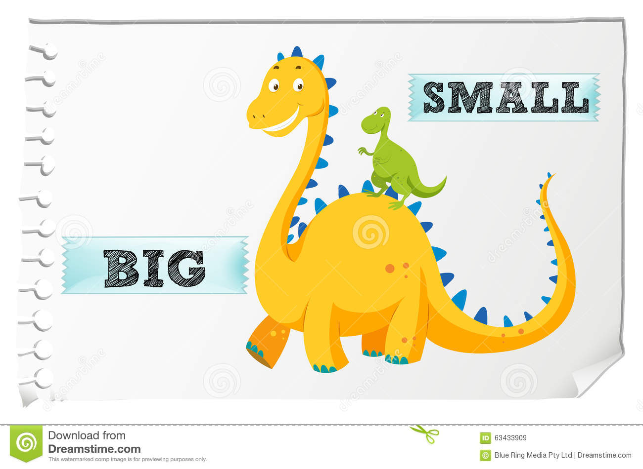 Opposite Adjectives With Big And Small Stock Vector