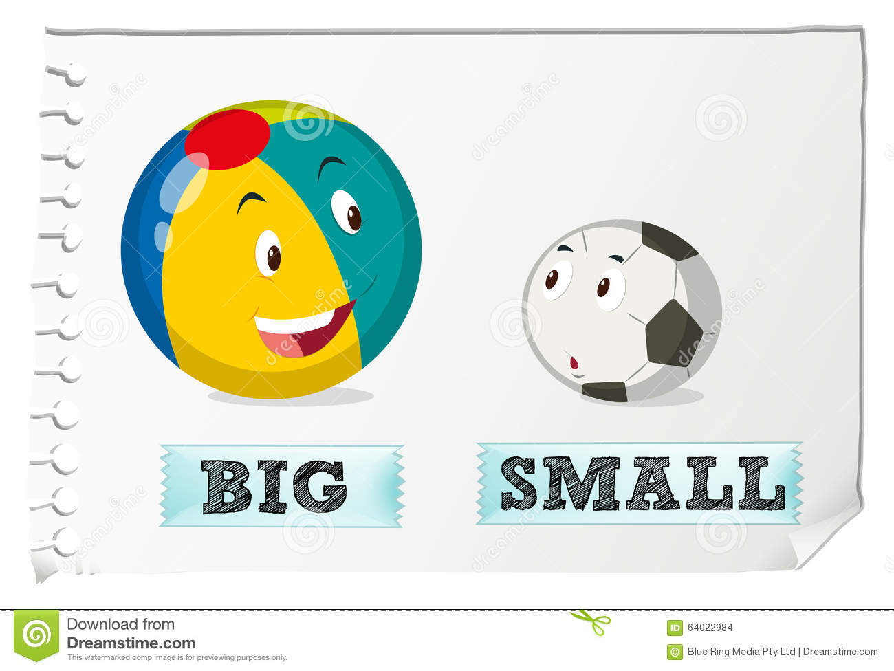 Opposite Adjectives Big And Small Stock Vector