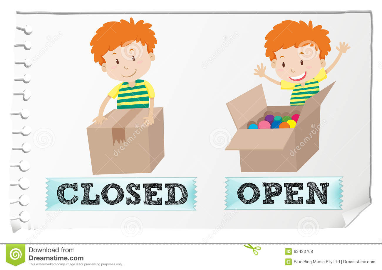 Opposite Adjectives Closed And Open Stock Vector