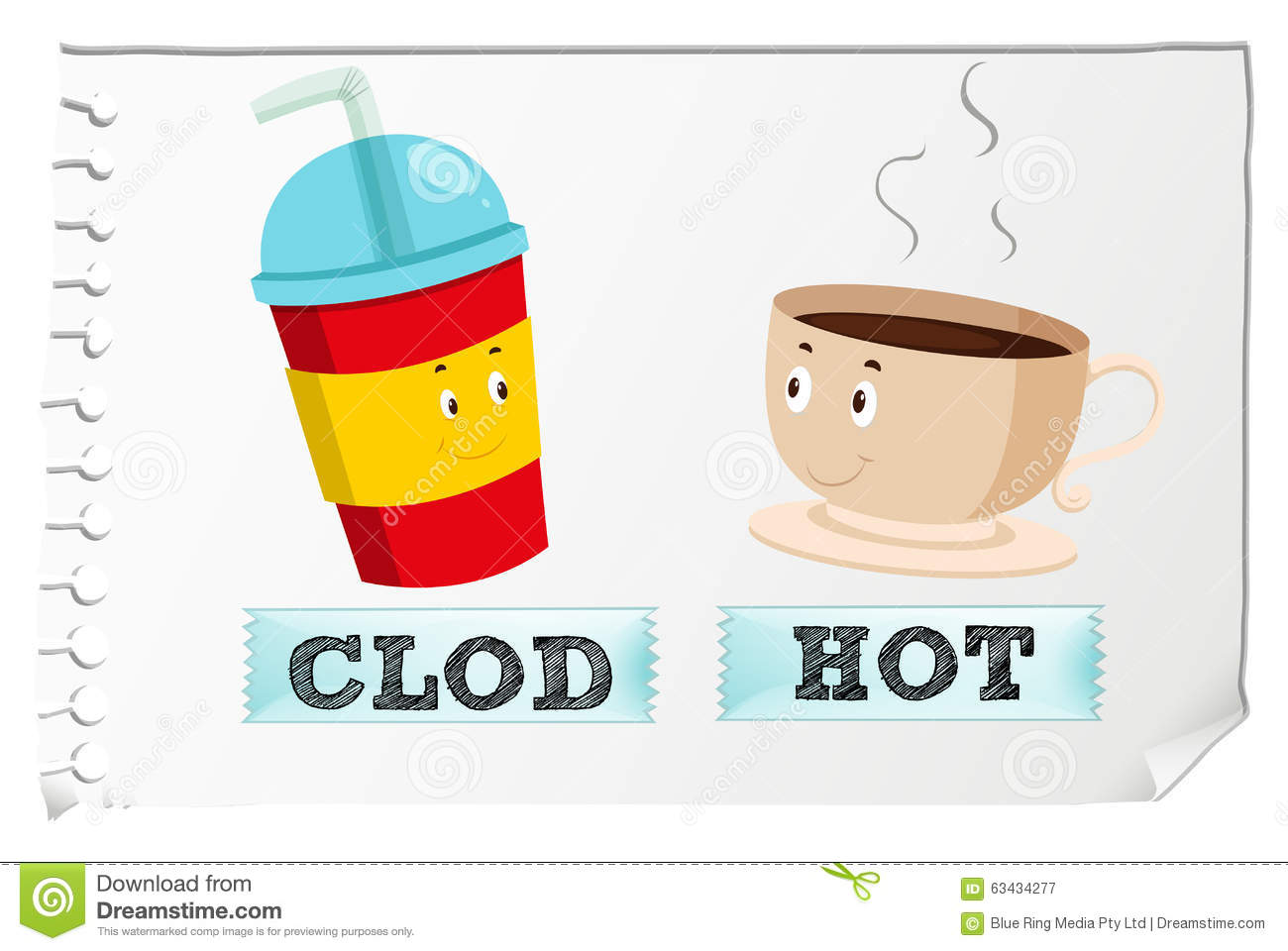 Opposite Adjectives Cold And Hot Stock Vector