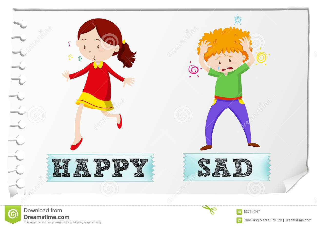 Opposite Adjectives Happy And Sad Stock Vector