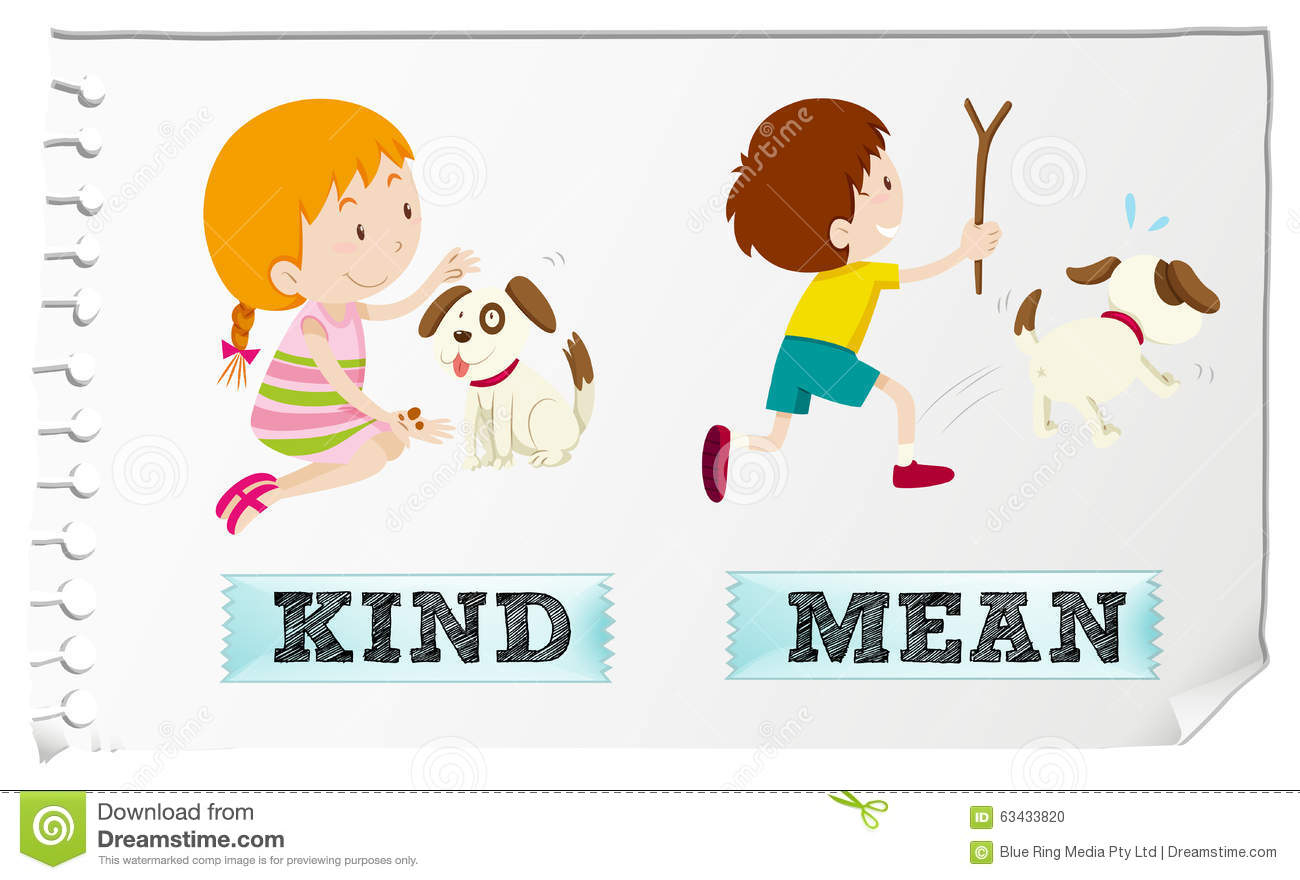 Opposite Adjectives Kind And Mean Stock Vector