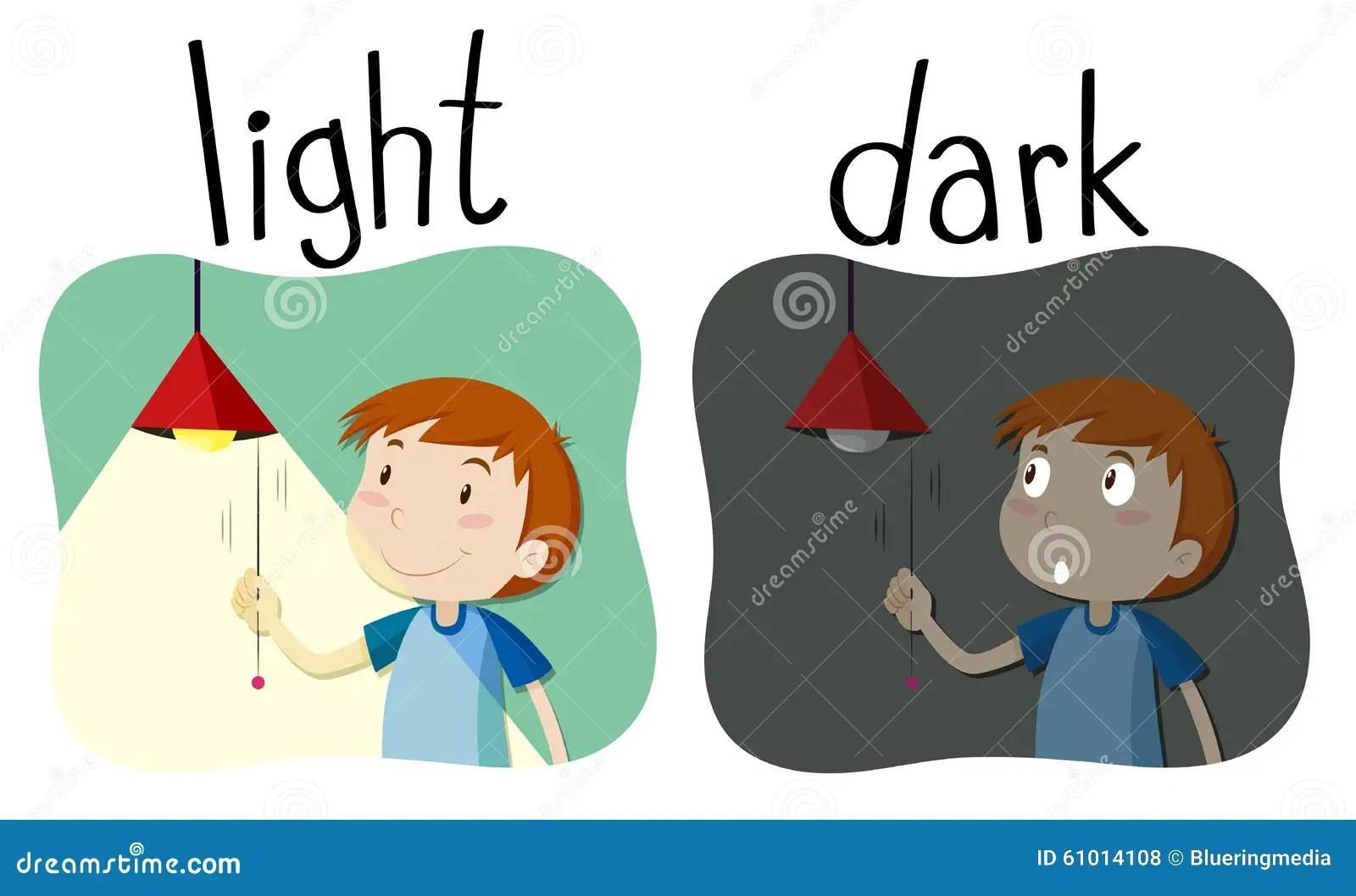 Opposite Adjectives Light And Dark Stock Illustration