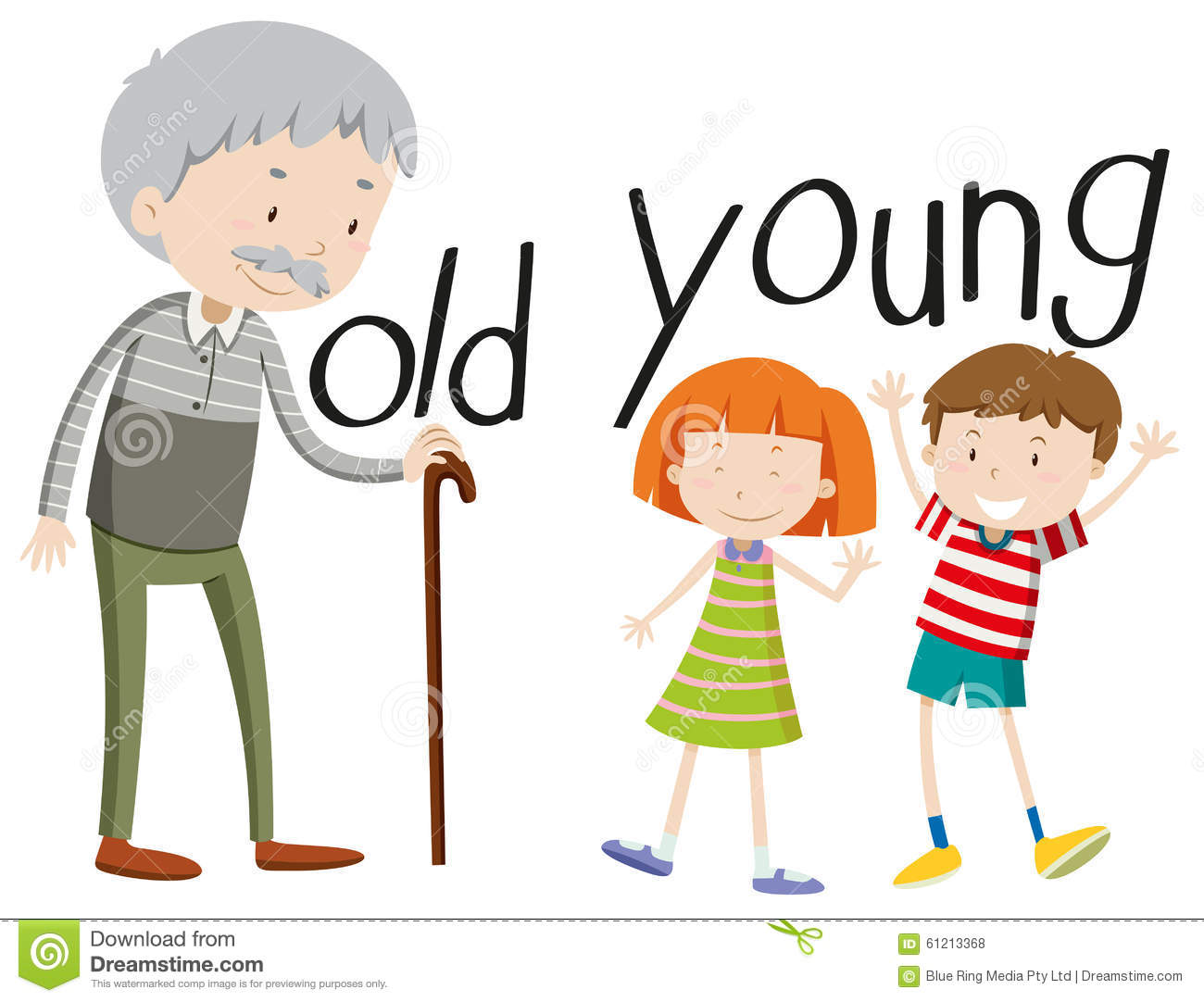 Opposite Adjectives Old And Young Stock Vector