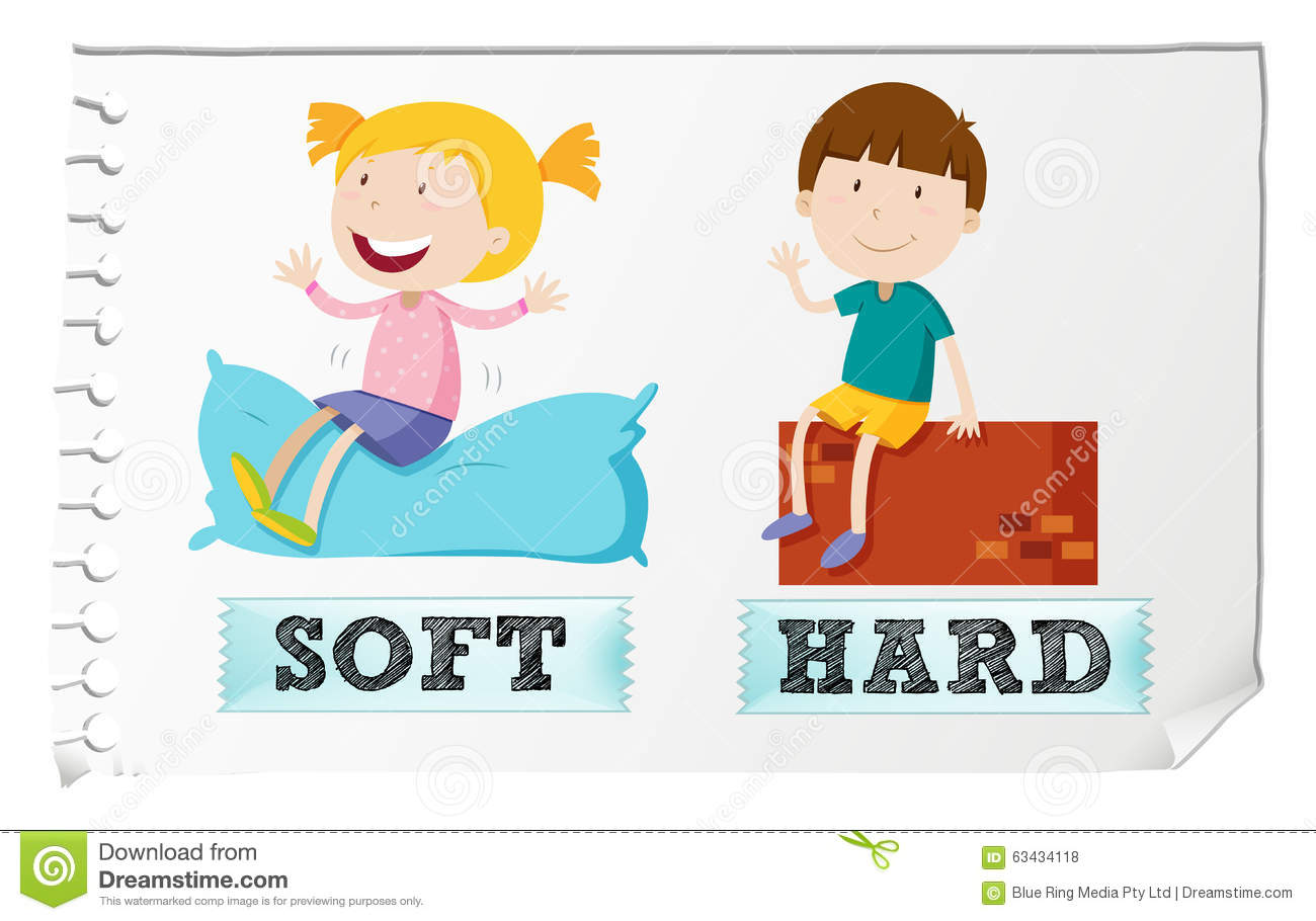 Opposite Adjectives Soft And Hard Stock Vector