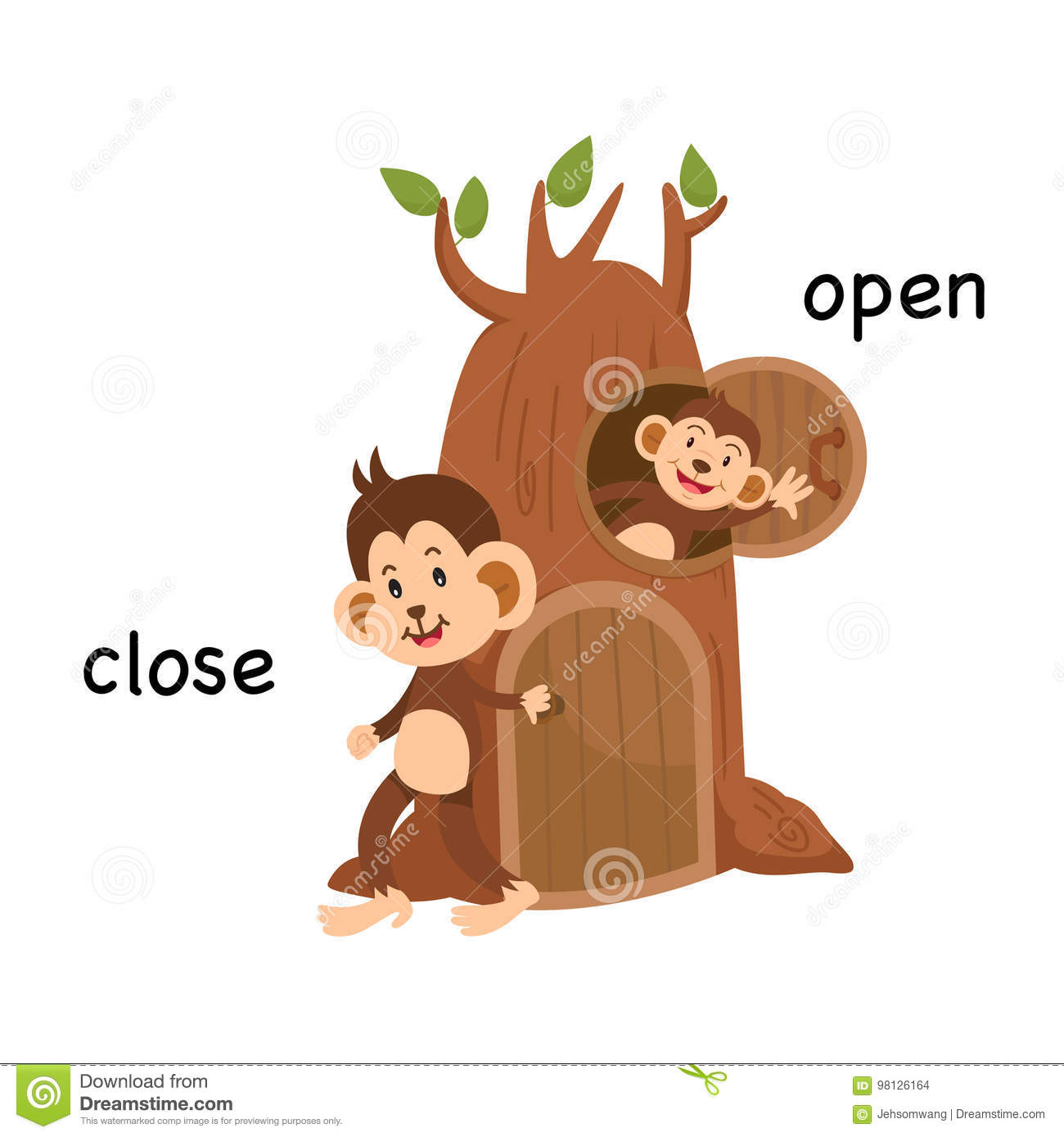 Opposite Close And Open Illustration Stock Vector