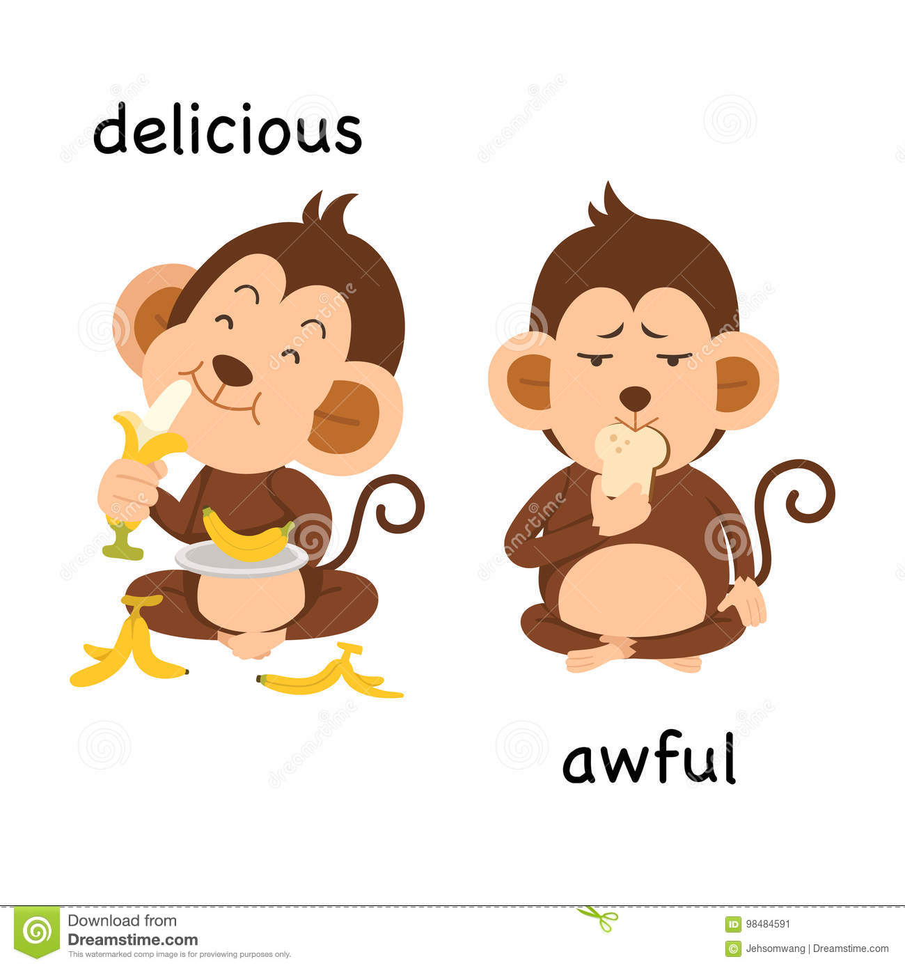 Opposite Delicious And Awful Illustration Stock Vector