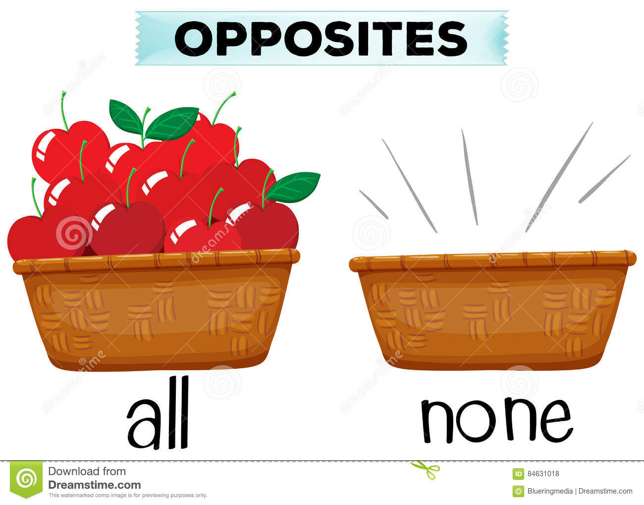 Opposite Words For All And None Stock Vector