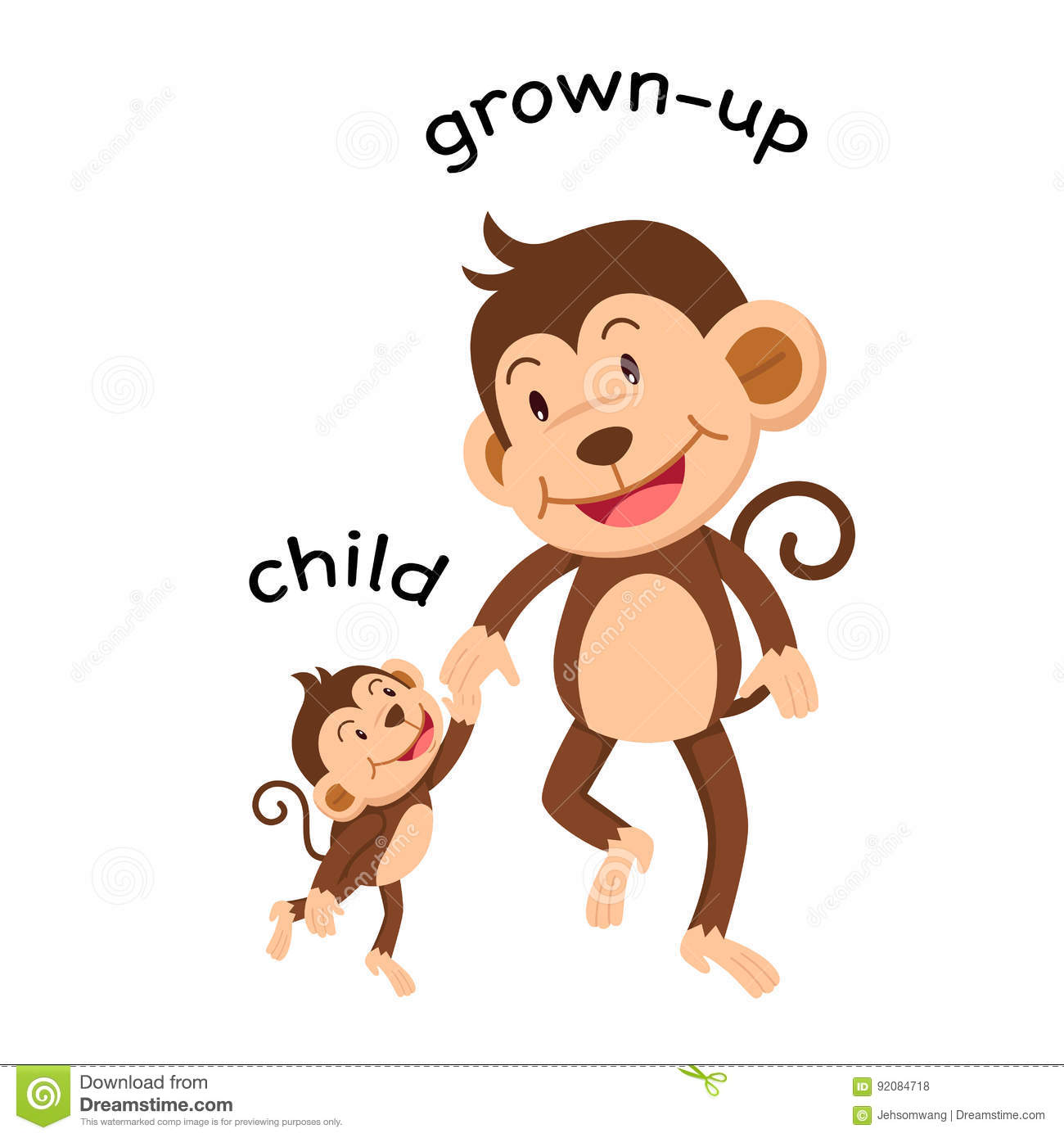 Opposite Words Child And Grown Up Vector Stock Vector